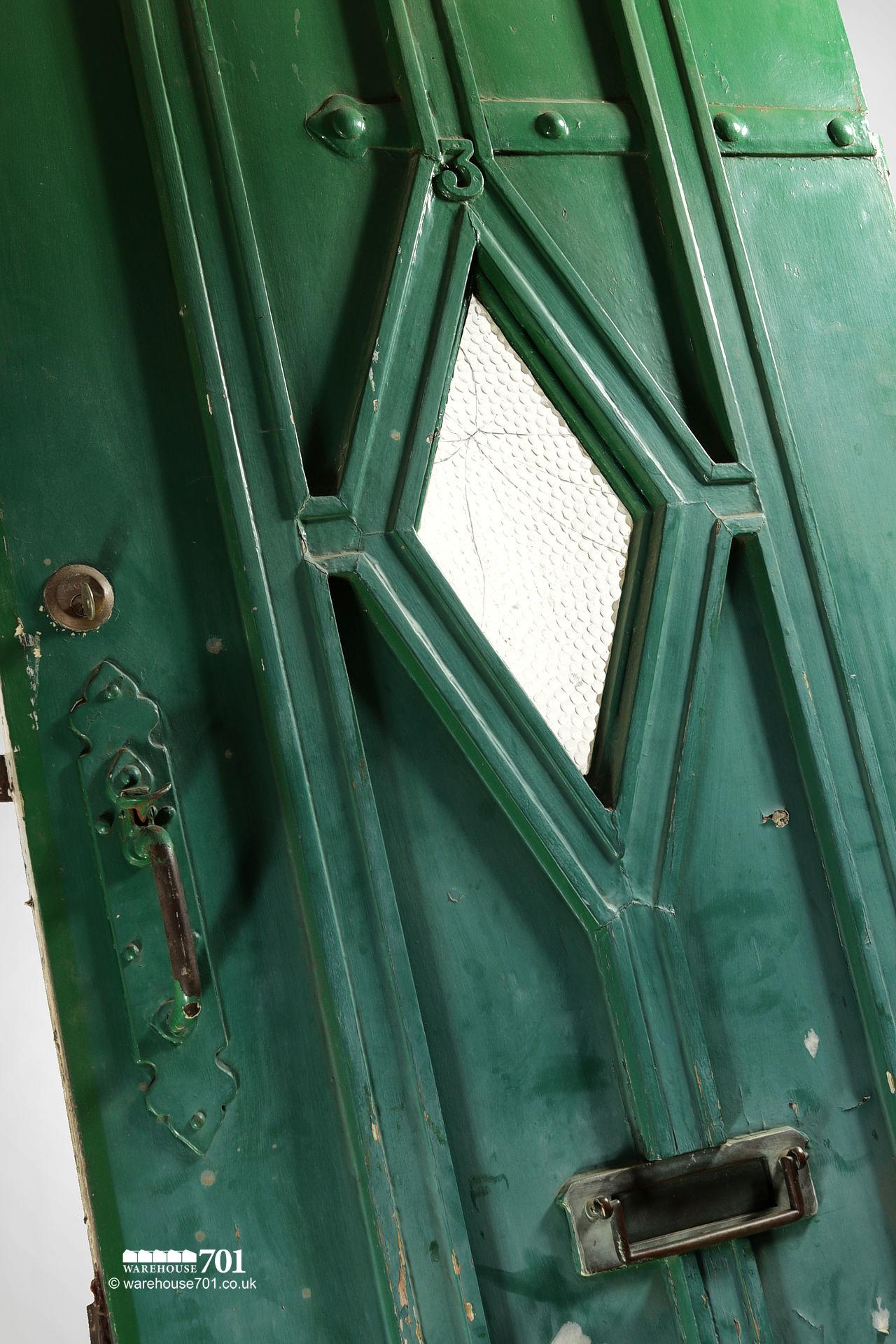 Old Green External Diamond Glazed Plank and Ledge Heavy Pine Door #2