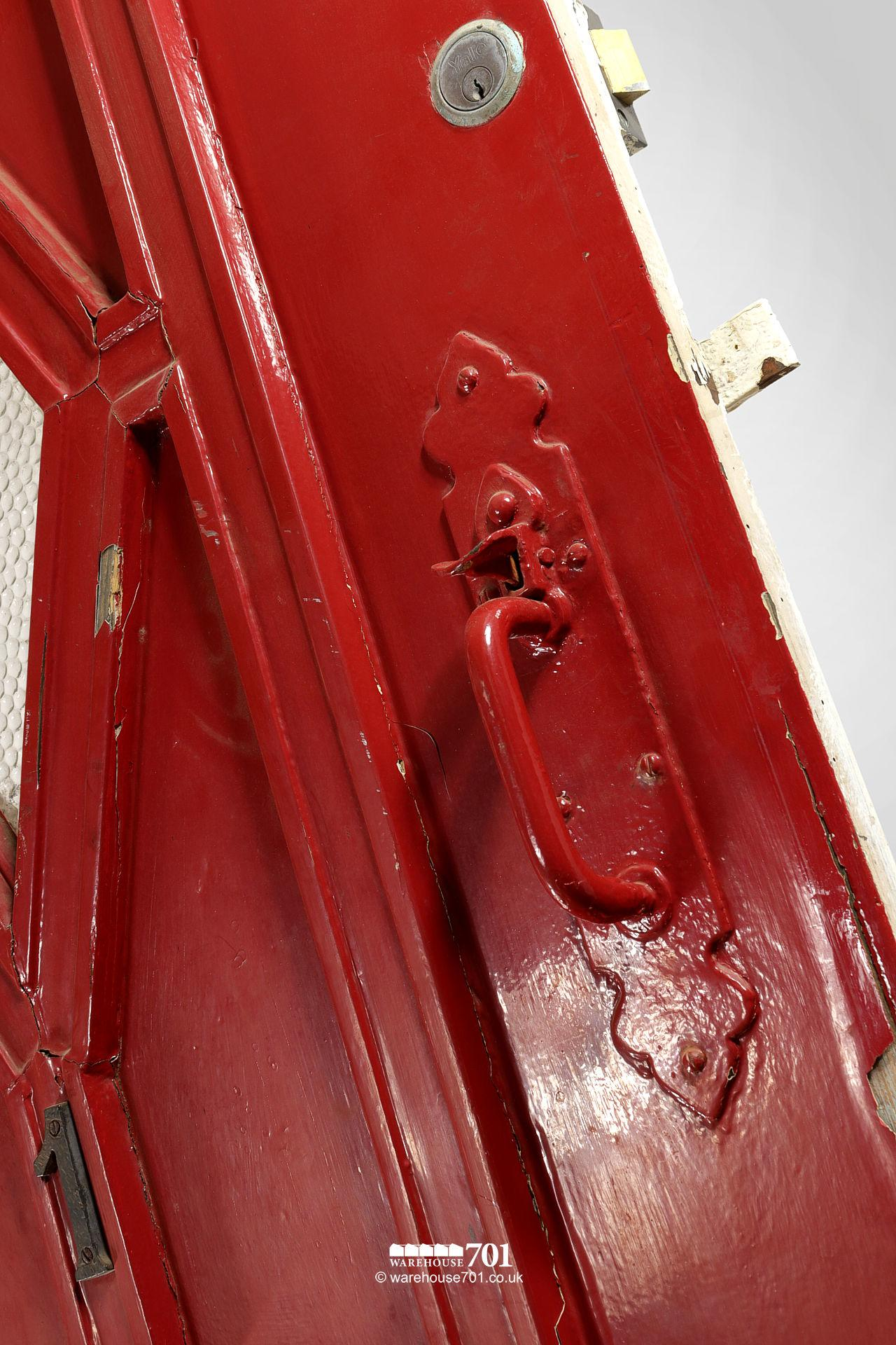 Old Red External Diamond Glazed Plank and Ledge Heavy Pine Door #3