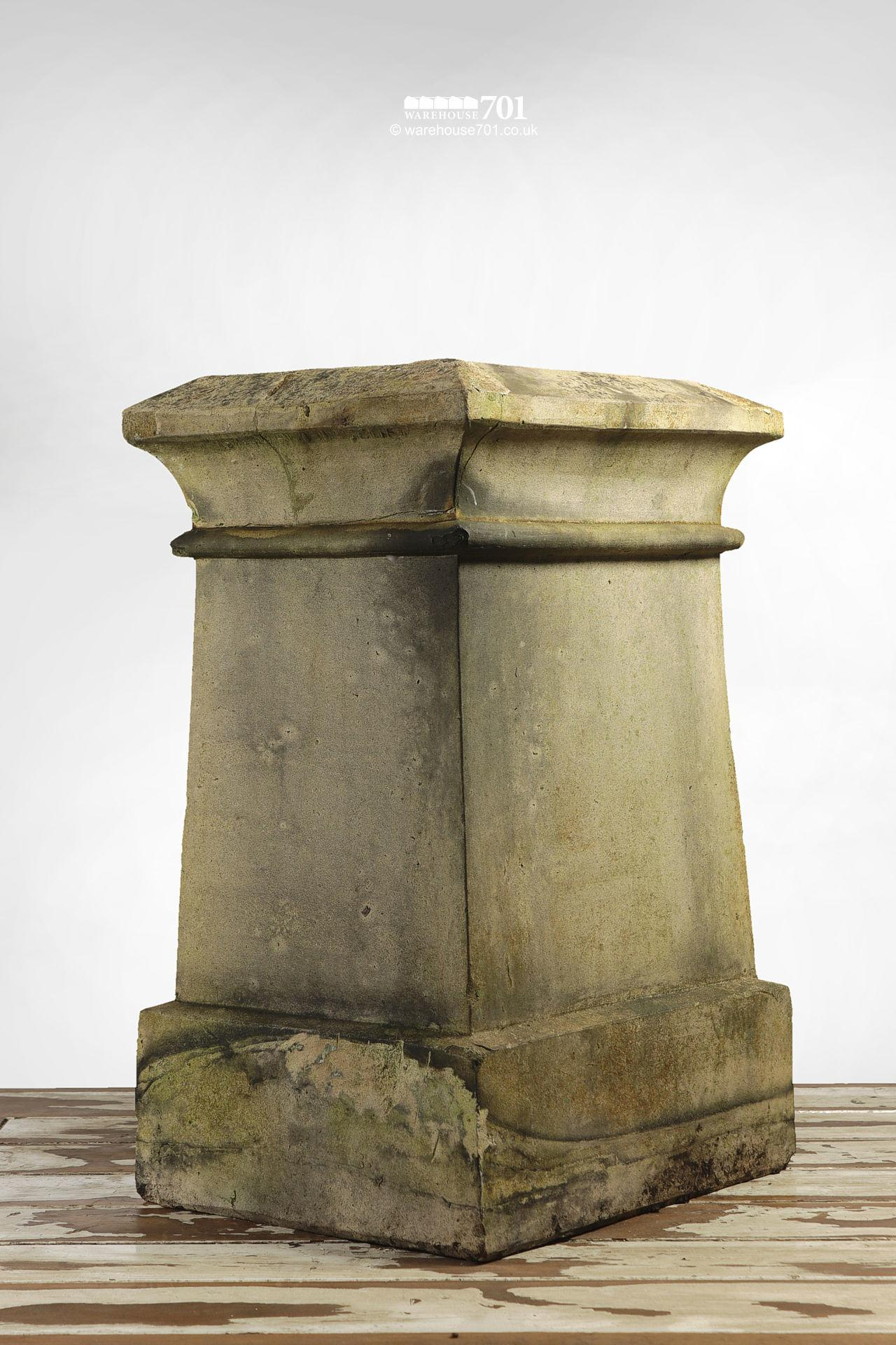 Reclaimed Rectangular Buff or Cream Colour Chimney Pot with Single Rib #2