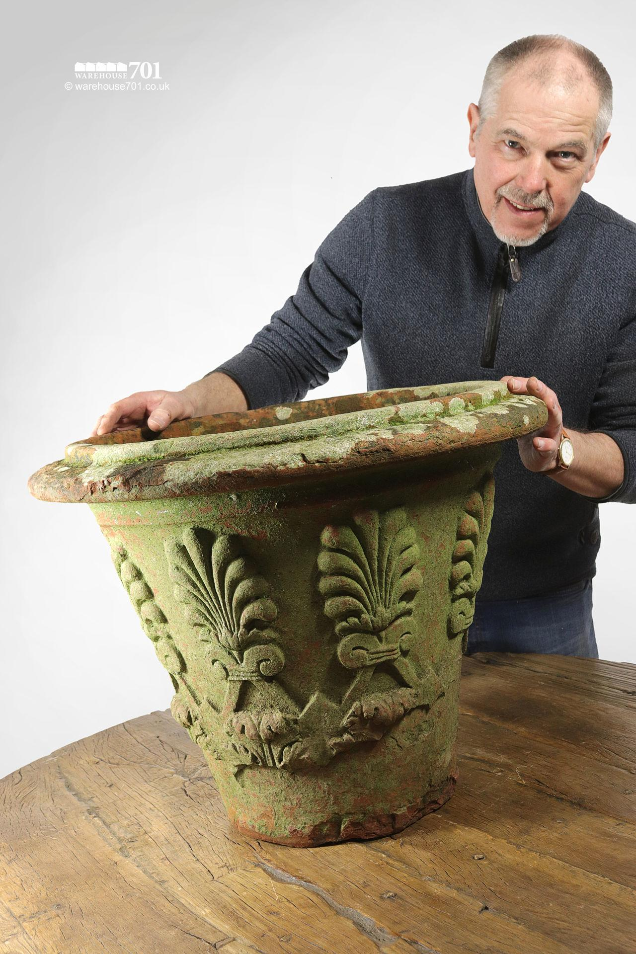 Old and Rare Large Terracotta or Clay Fern Pattern Planter or Pot #2