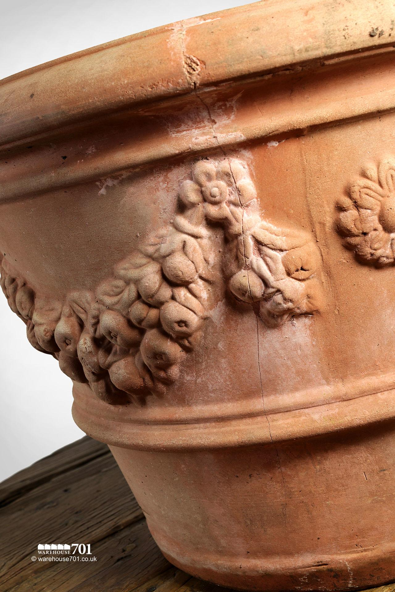 Attractive Hand Made Clay Planter with Floral Swags and Single Rib #3