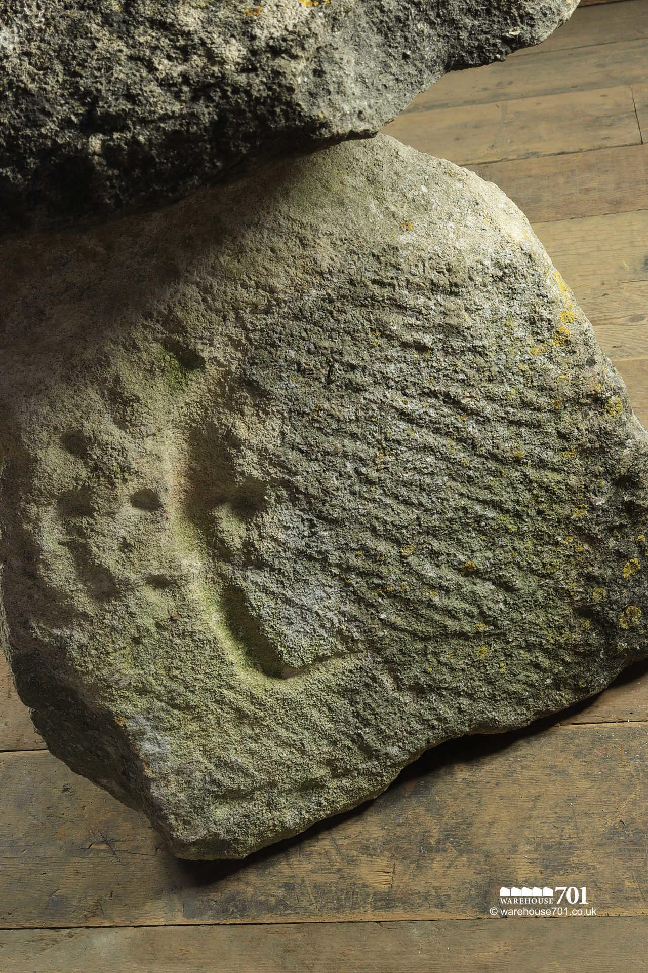 Unusually Marked Hand Carved Old Staddle Stone #3