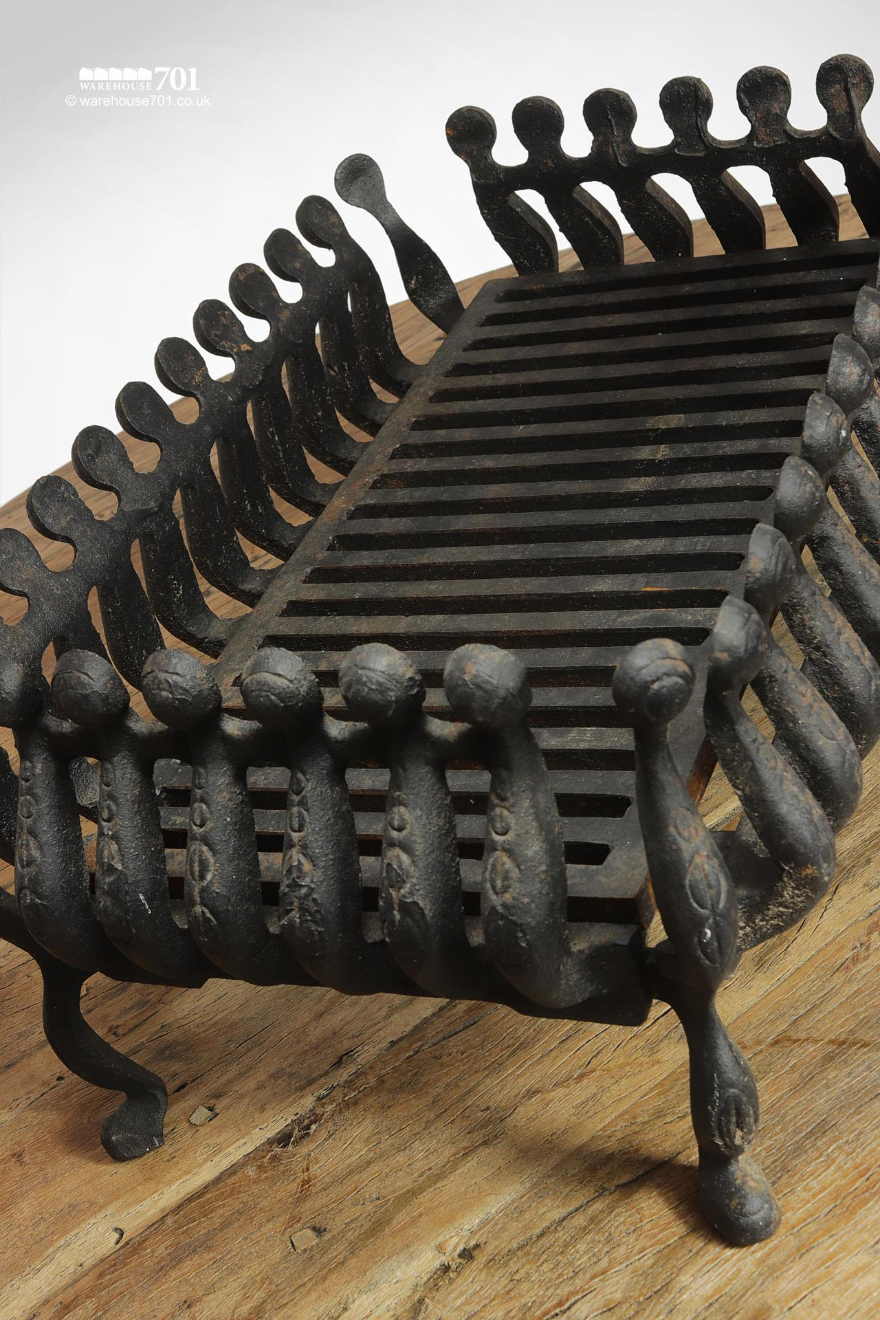 Reclaimed Scroll Pattern Cast Iron Fire Basket #3