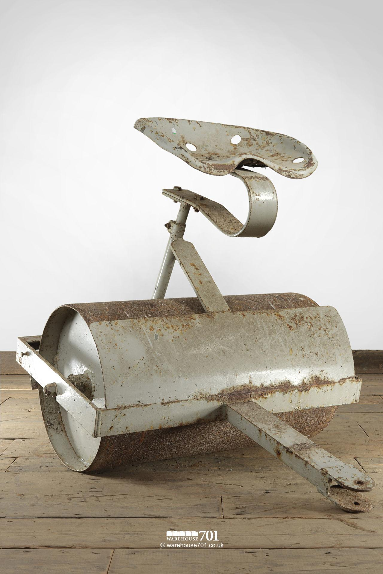Vintage Sit on Steel Drum Roller with Integral drawbar and Scraper
