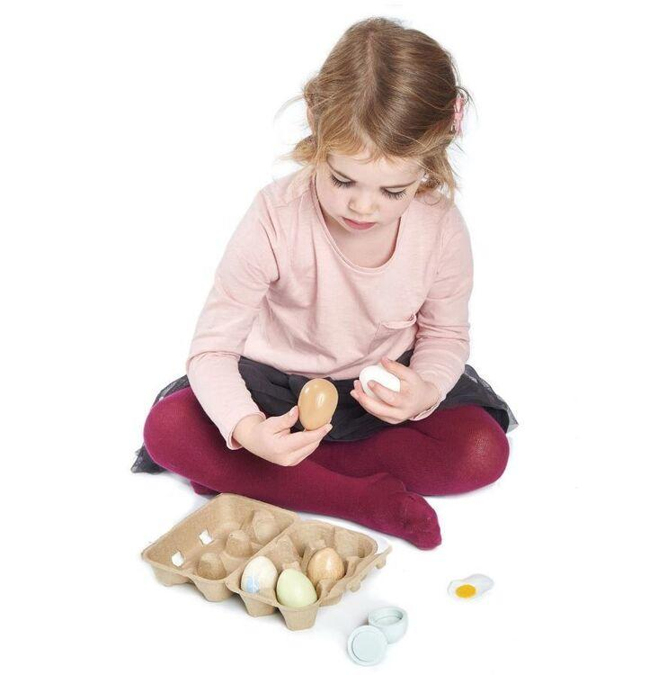 New Authentic Egg Box with 6 Assorted Wooden Play Eggs
