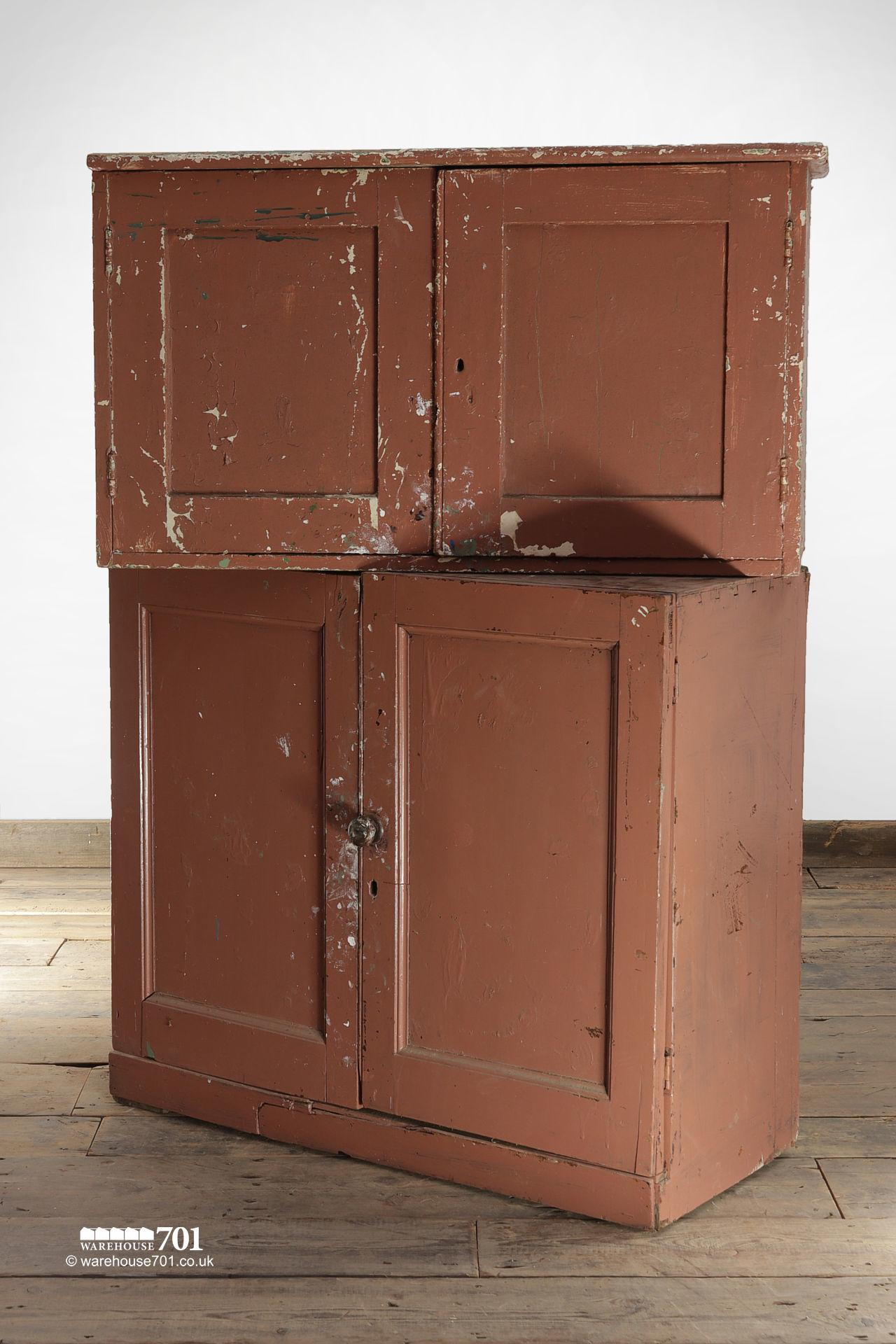 Old Brown Painted Kitchen or Workshop Cupboards #2