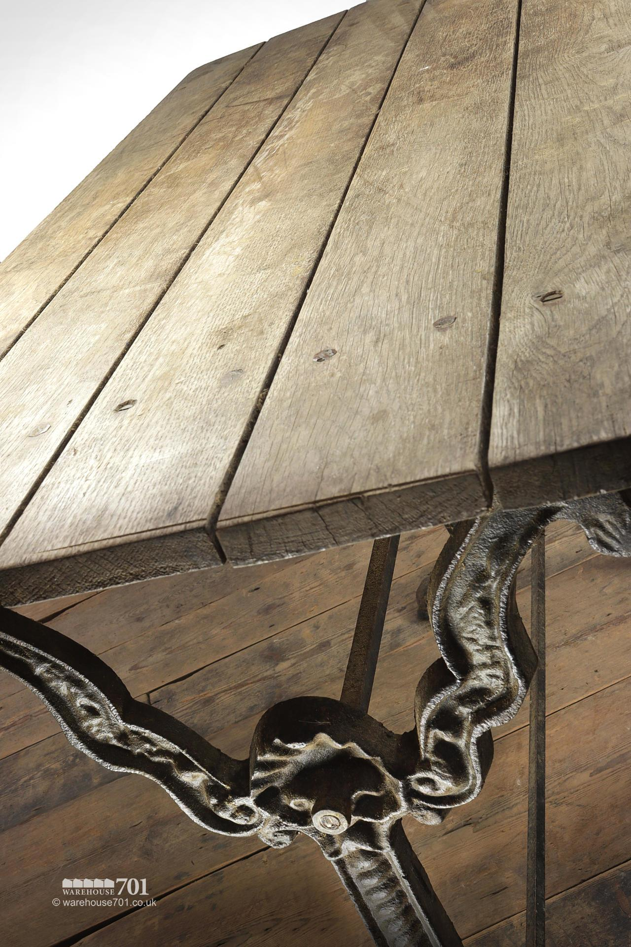 Reclaimed Oak Top Decorative Cast Iron Base Table #2