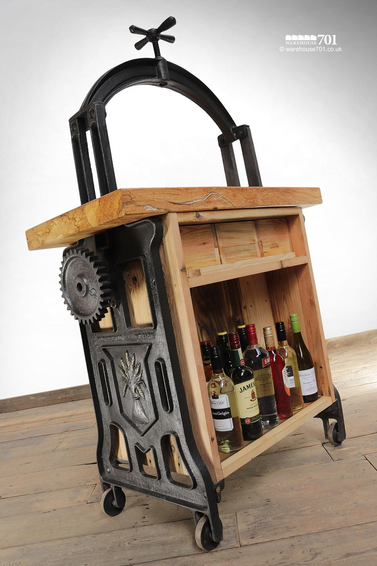 Unique Hand-Crafted Cast Iron and Beech 'Silenus' Wine Station #8