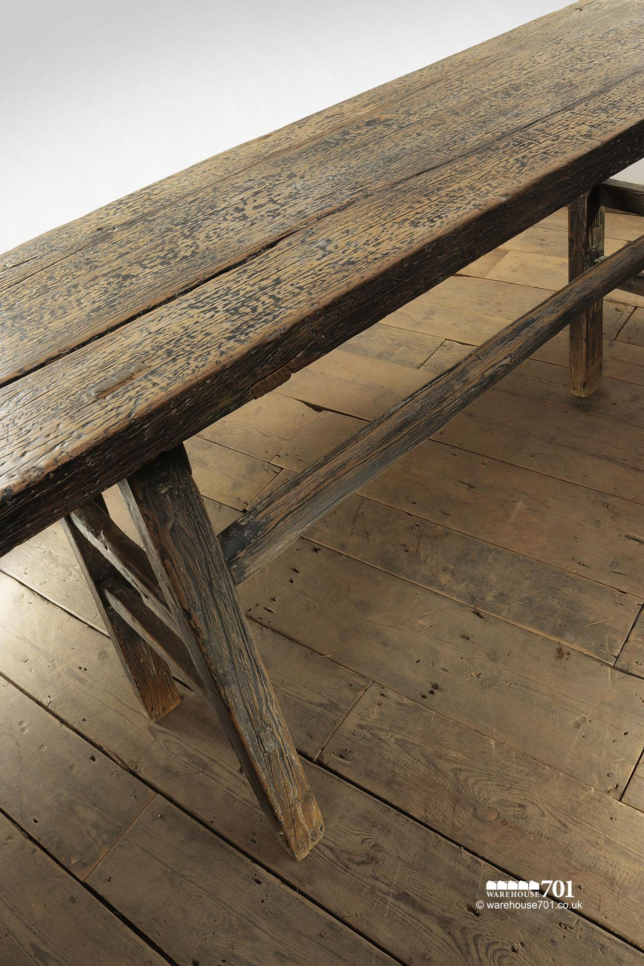 Impressive Reclaimed Elm Dark Wood Console Table