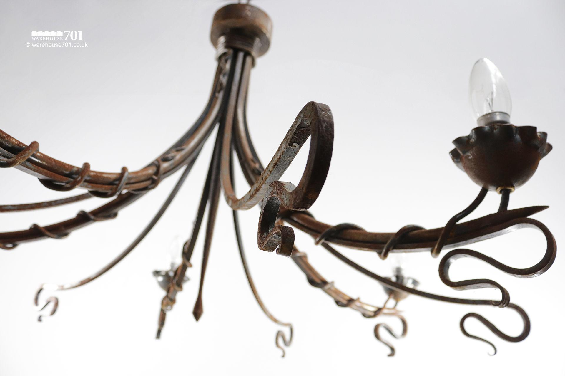 Reclaimed Blacksmith Made Entwined Scroll Iron Chandeliers #2