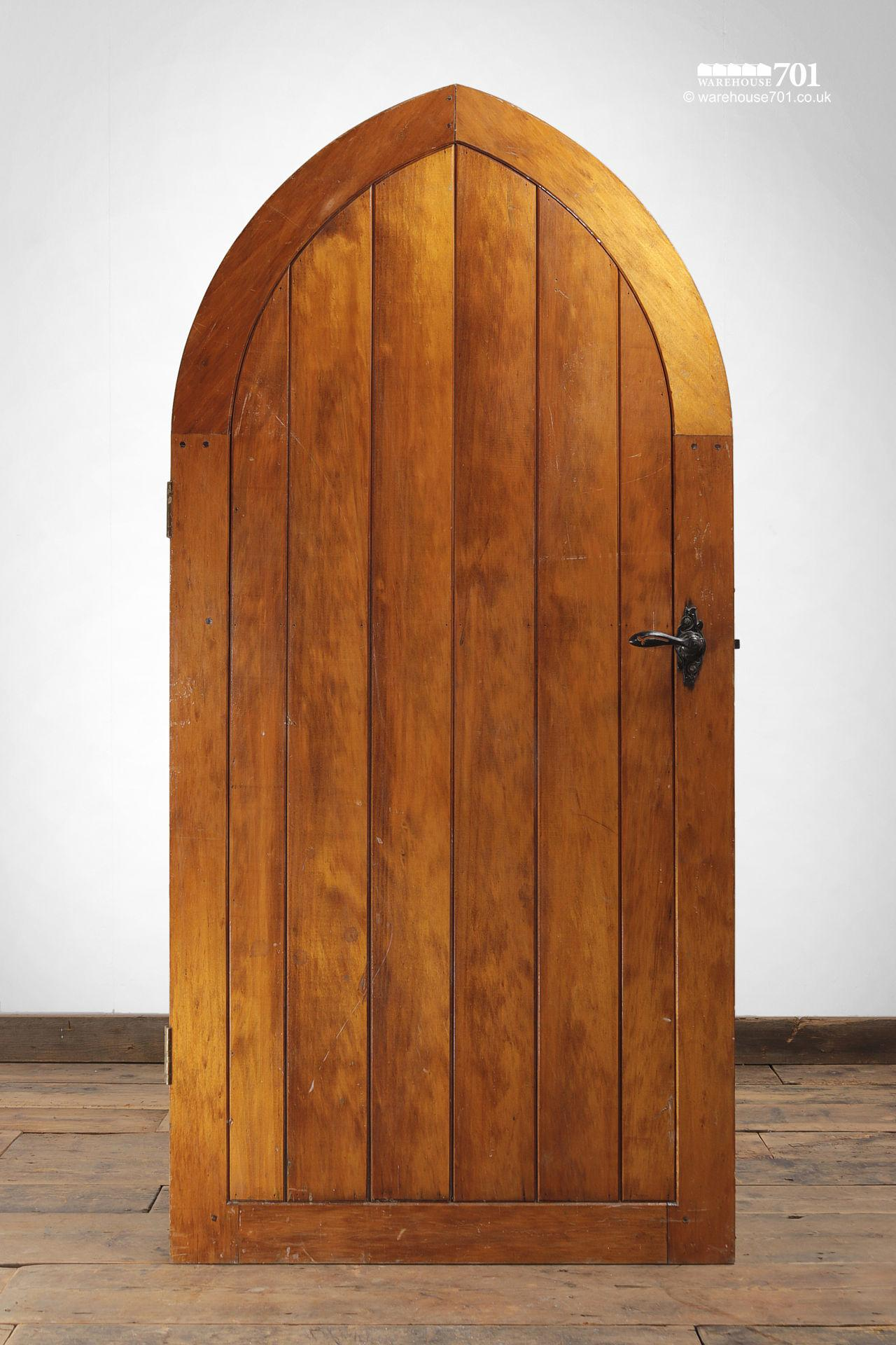 Small Wood Plank Arched Top Chapel Door