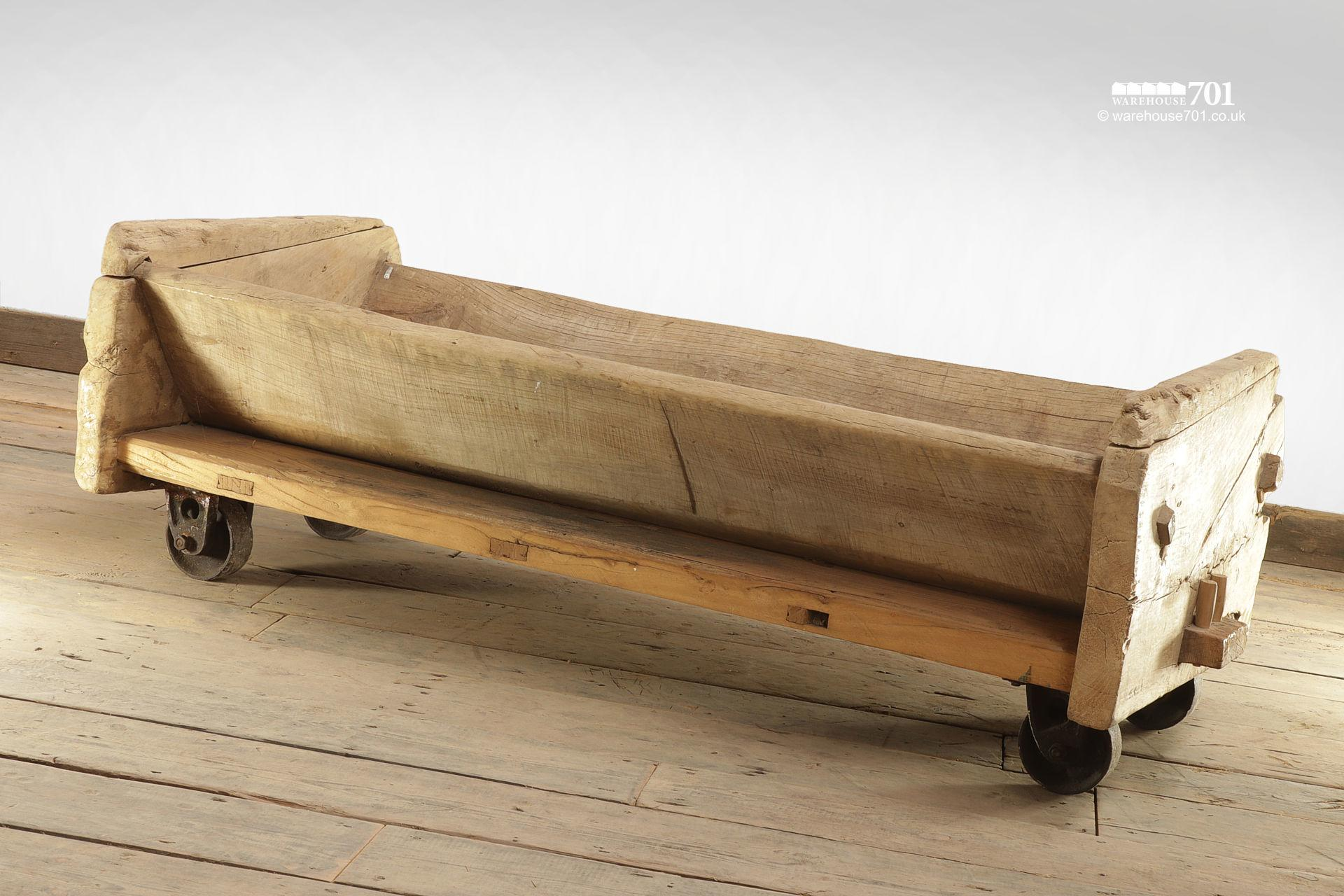 Reclaimed Elm Trough with Cast Iron Wheels #3