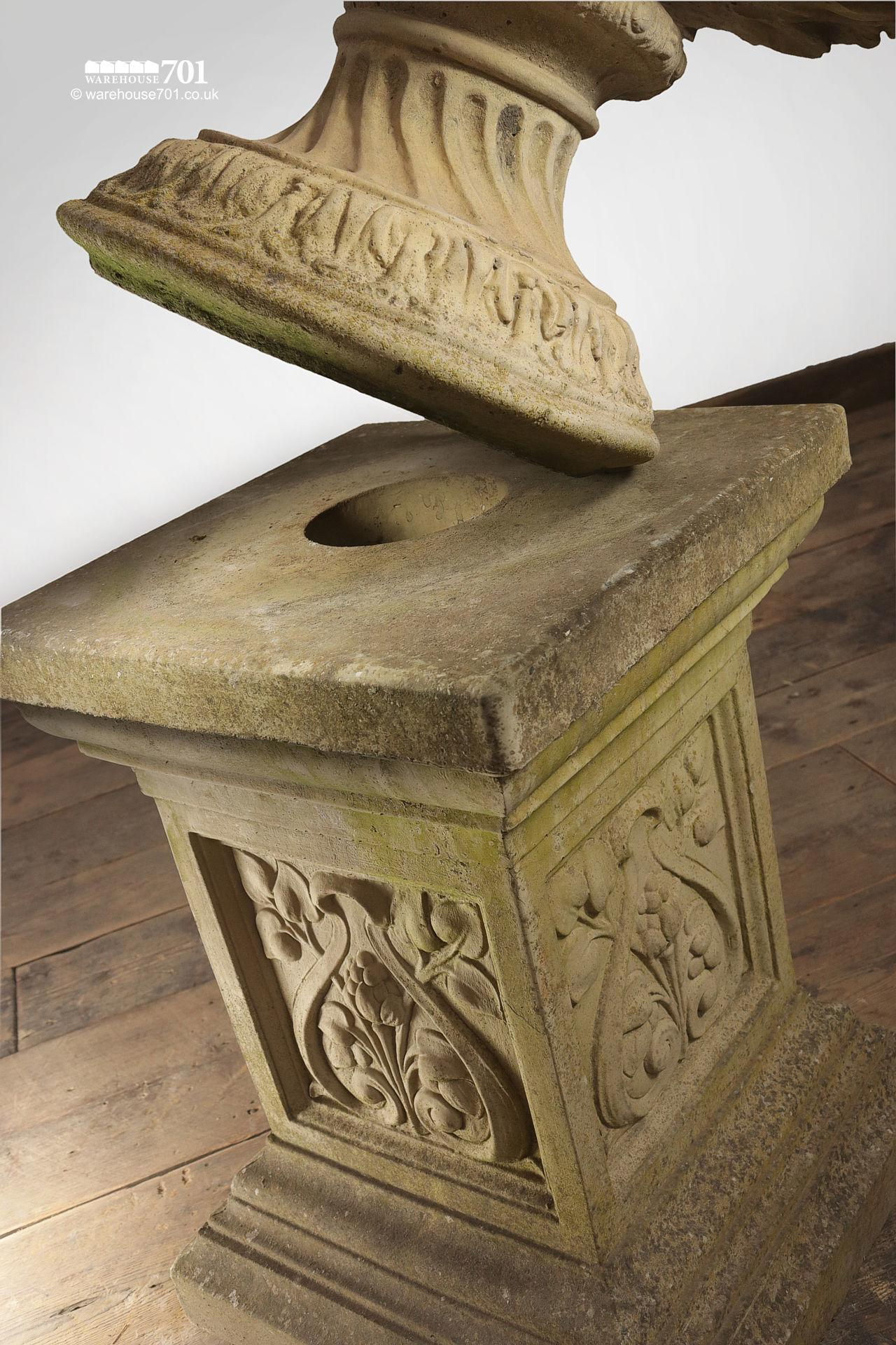 Pair of composite Floral Stone Urns on Plinths #7