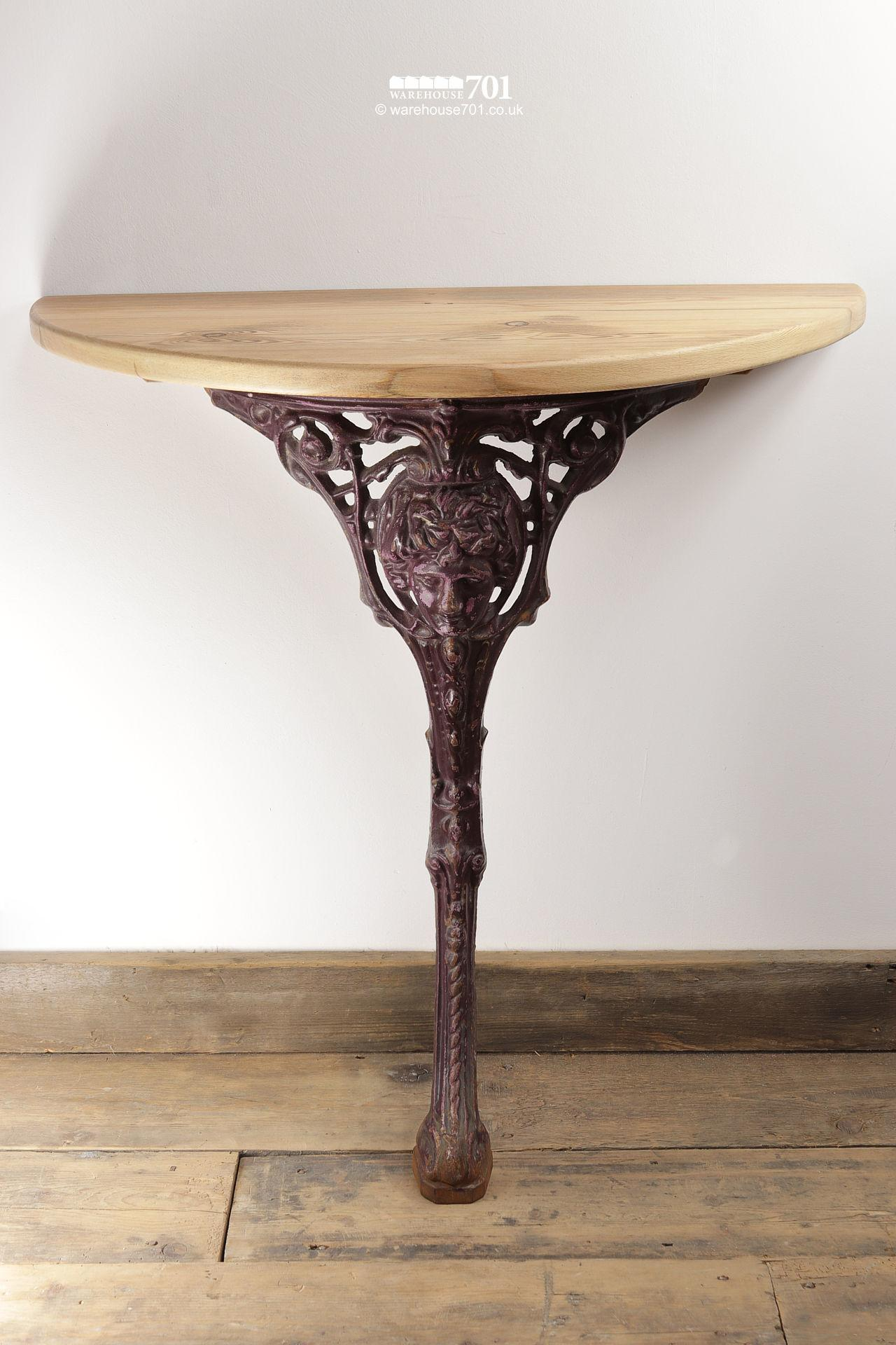 Reclaimed Scroll and Masque Cast Iron and Wood Console Table