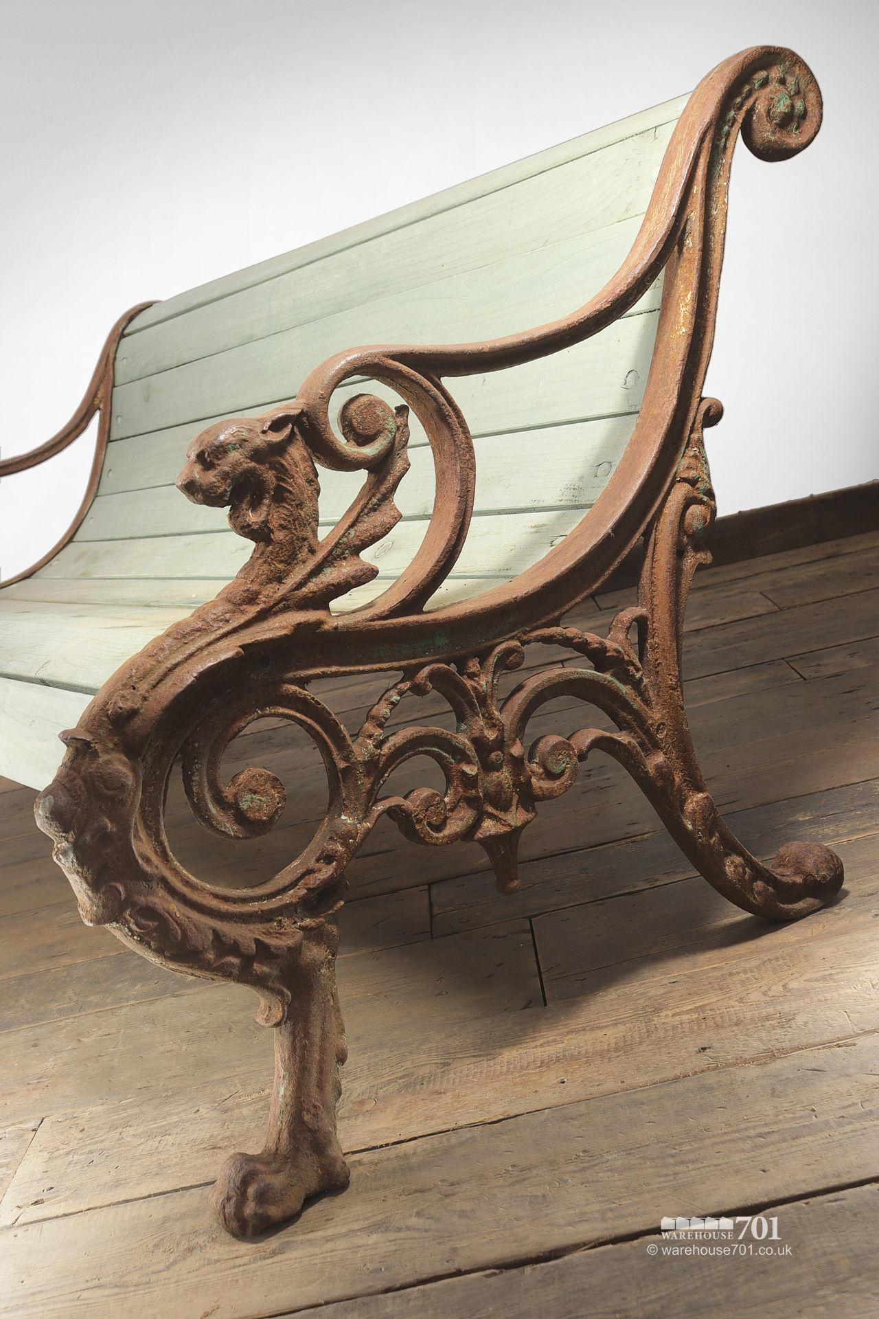Stunning Reclaimed Cast Iron Dragon Bench #1