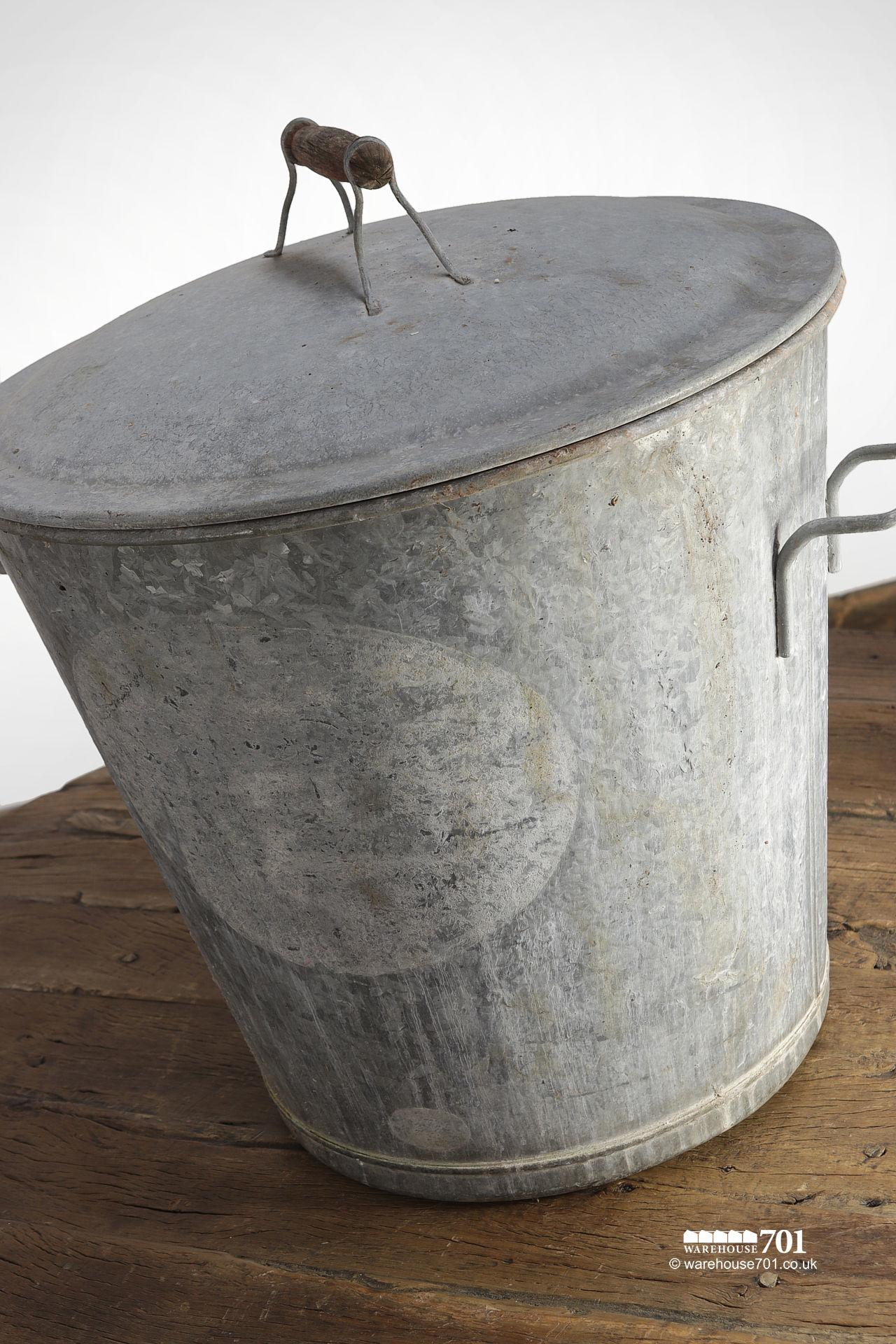 Handsome Vintage Galvanised Bucket with Lid #3