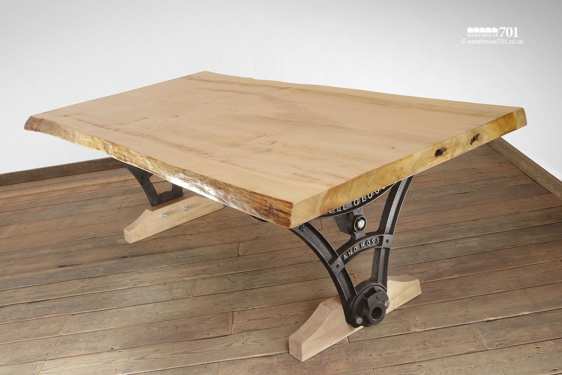 Impressive and Unique Large Cast Iron and Cedar Table #4