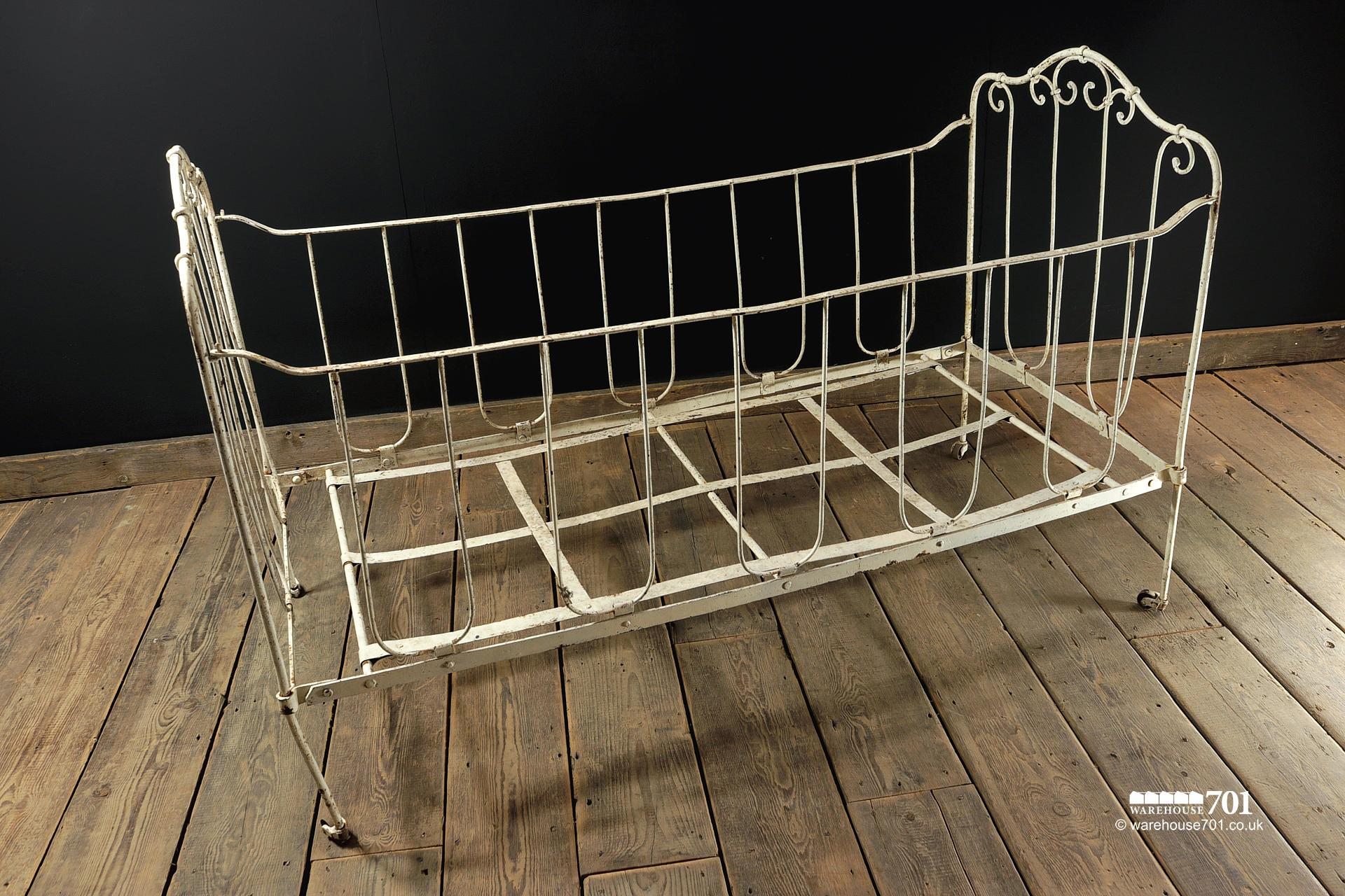Vintage White Iron Children's Cot or Small Bed #3
