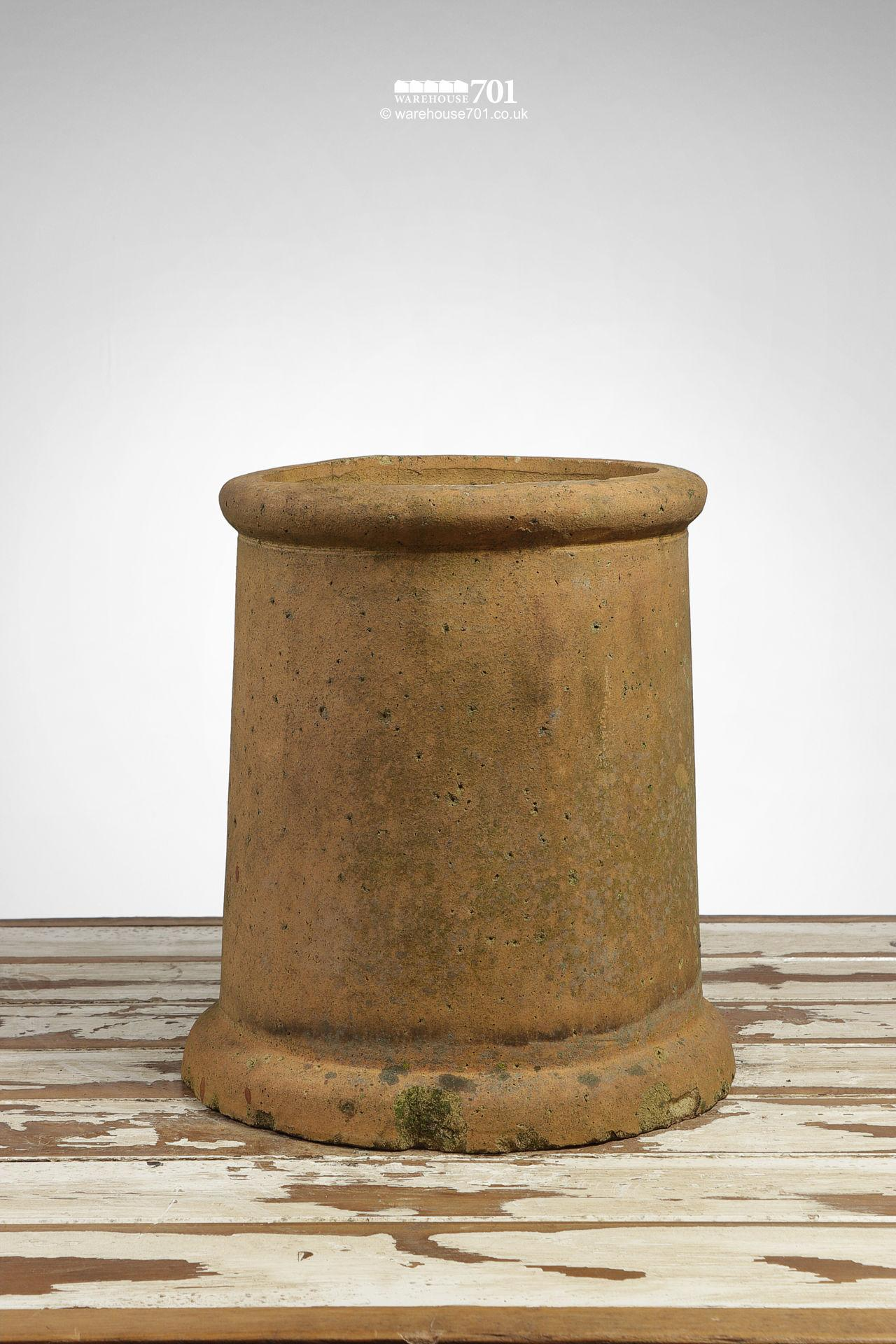 Vintage Straight Sided Rolled Rim Buff Chimney Pot #1