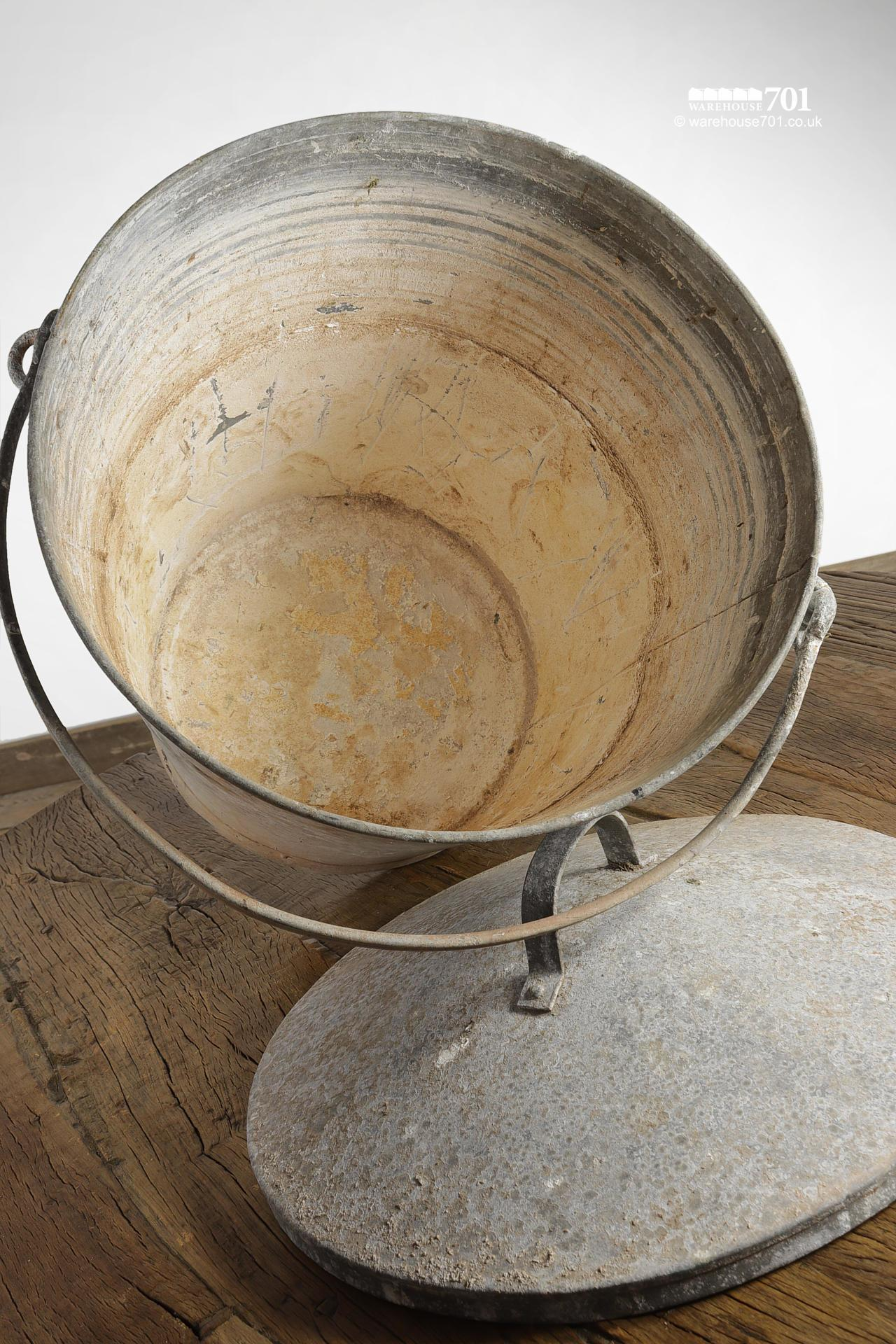 Large Reclaimed Galvanised Bucket with Lid and Handle #3