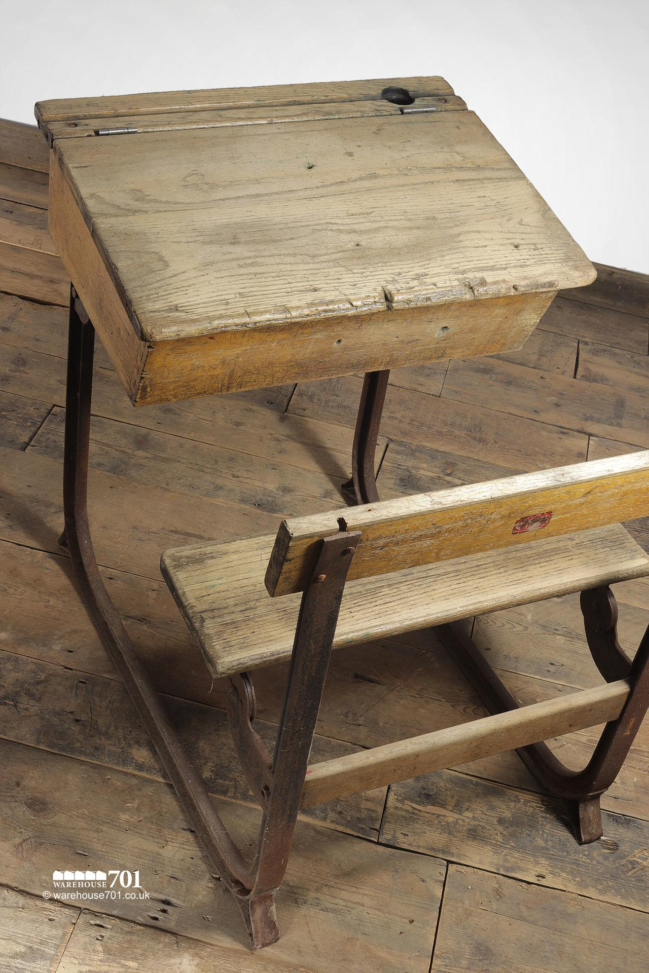 Reclaimed Wooden Childs School Desk and Seat #5