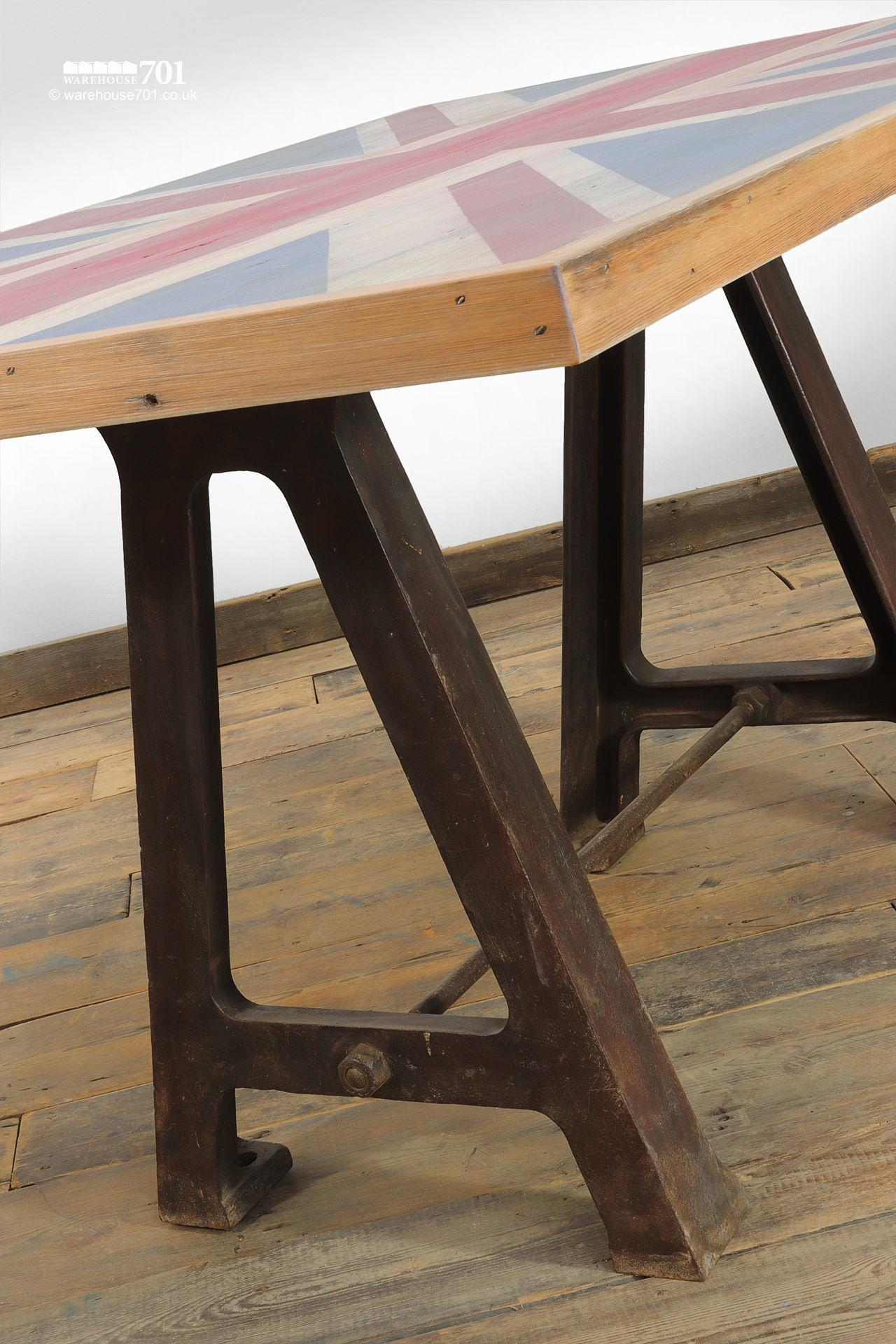 Reclaimed Cast Iron base Union Jack Wooden Table #3