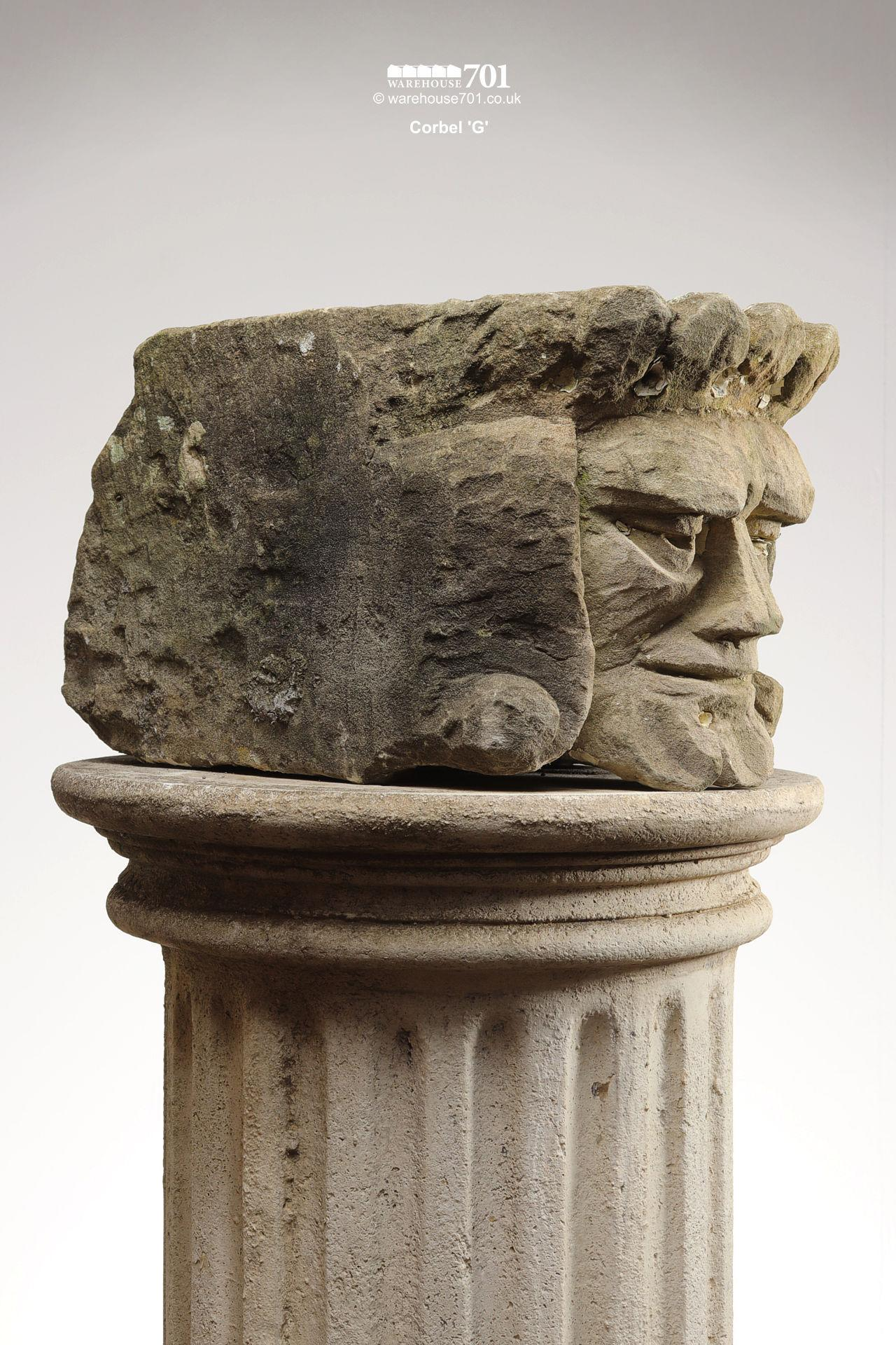 Assorted Salvaged Hand-Carved Stone Corbel Faces #2