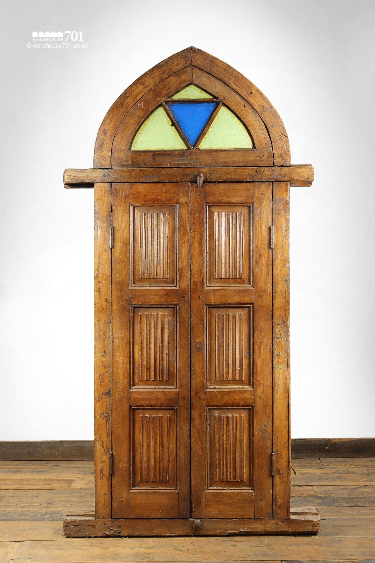 Reclaimed Middle-Eastern Carved Arch Top Doors or Shutters