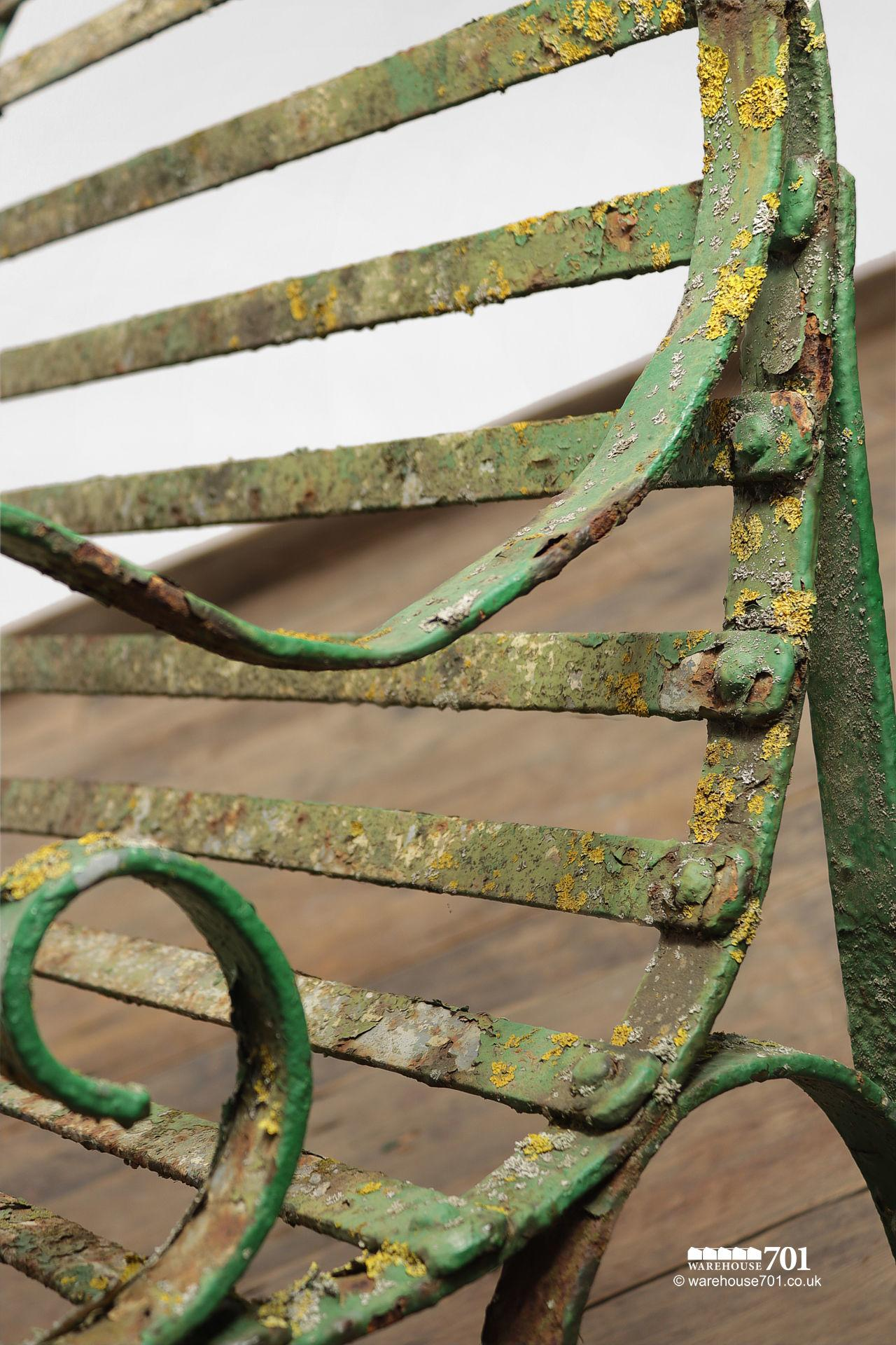 Salvaged Five Seater Metal Strap Park Bench #7