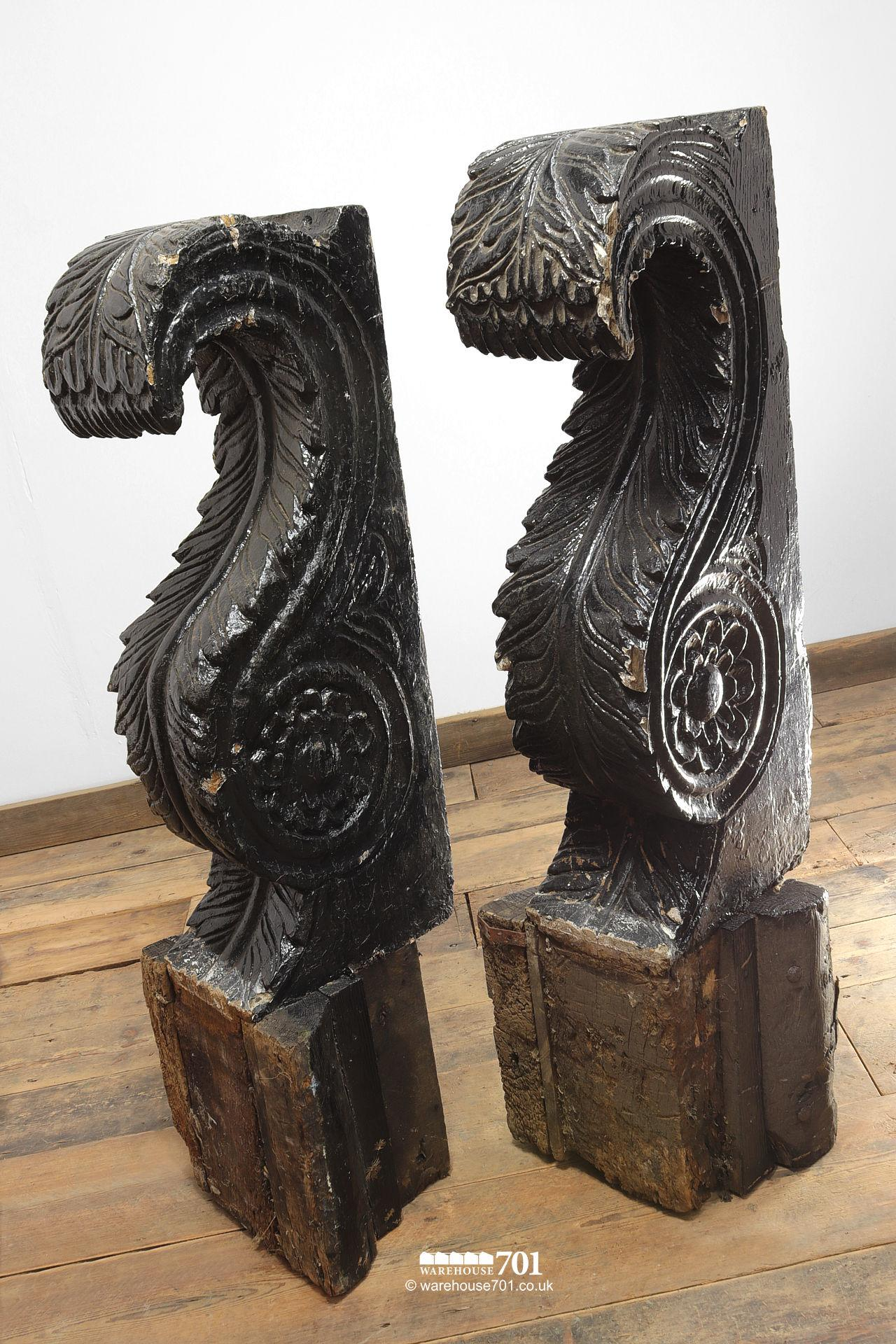 Pair of Huge Old Salvaged Hand Carved Oak Corbels #3