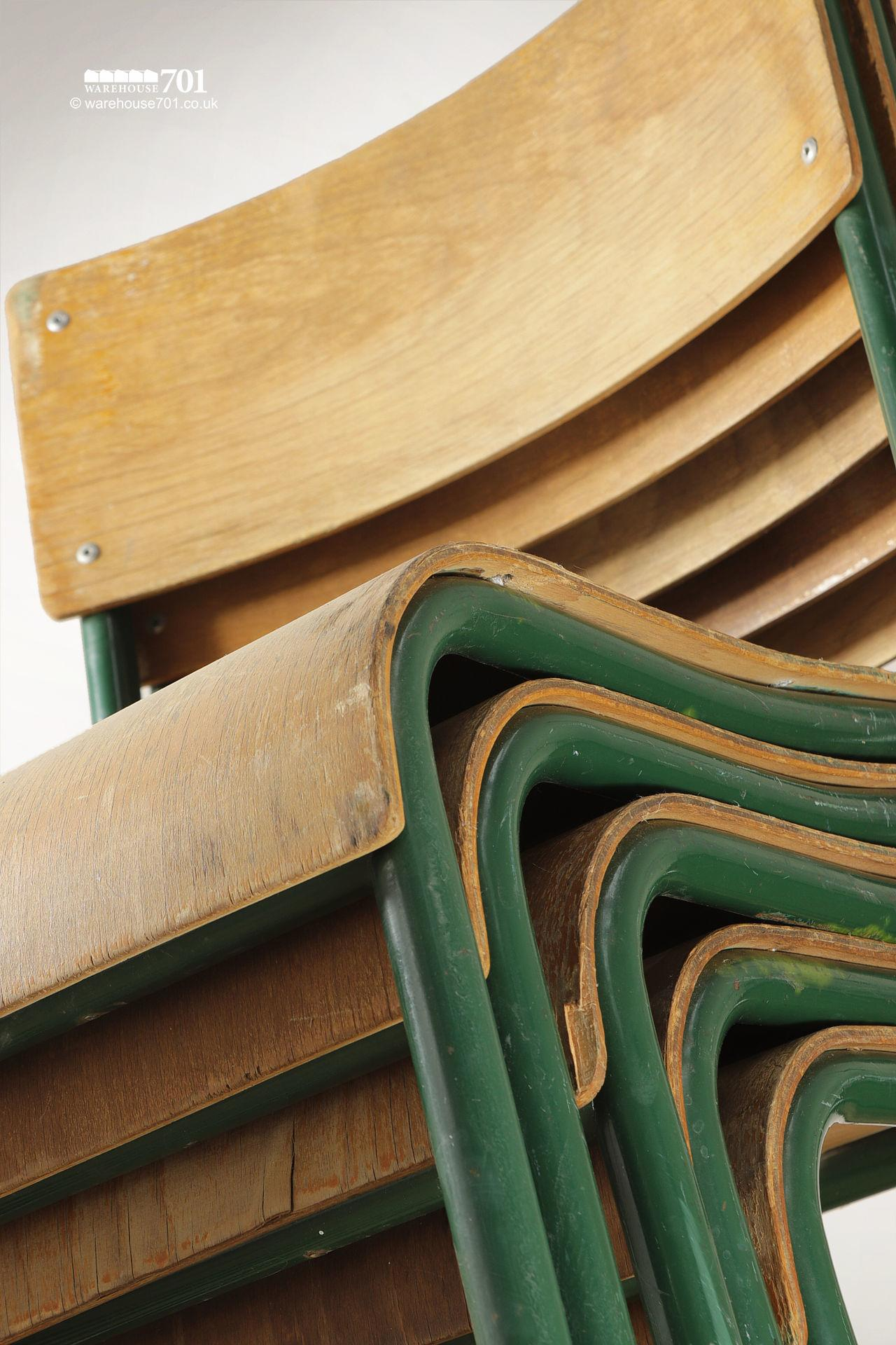 Old Green Tubular Steel and Ply Stacking Chairs