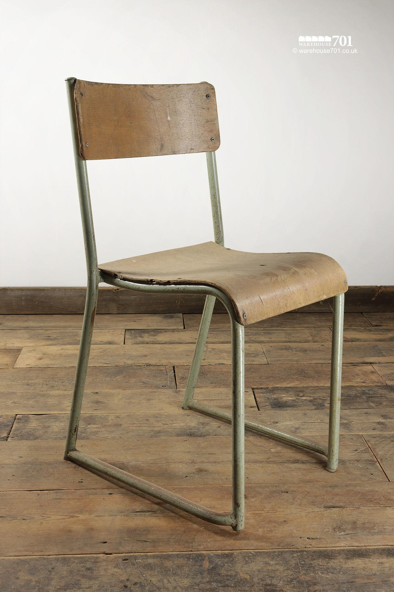 Vintage Sage Green Tubular Steel and Ply Stacking Chairs #2