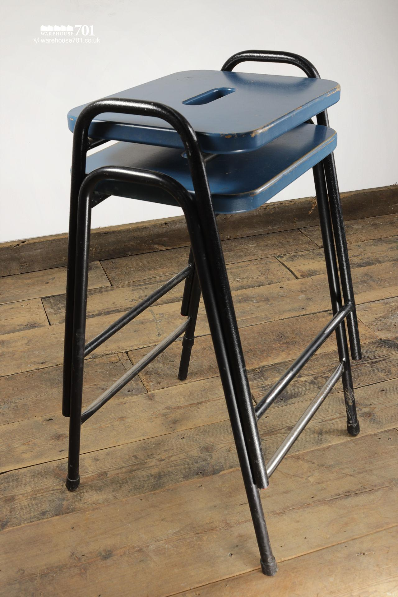 His & Hers Vintage Tubular Steel and Wood Stacking Stools #3