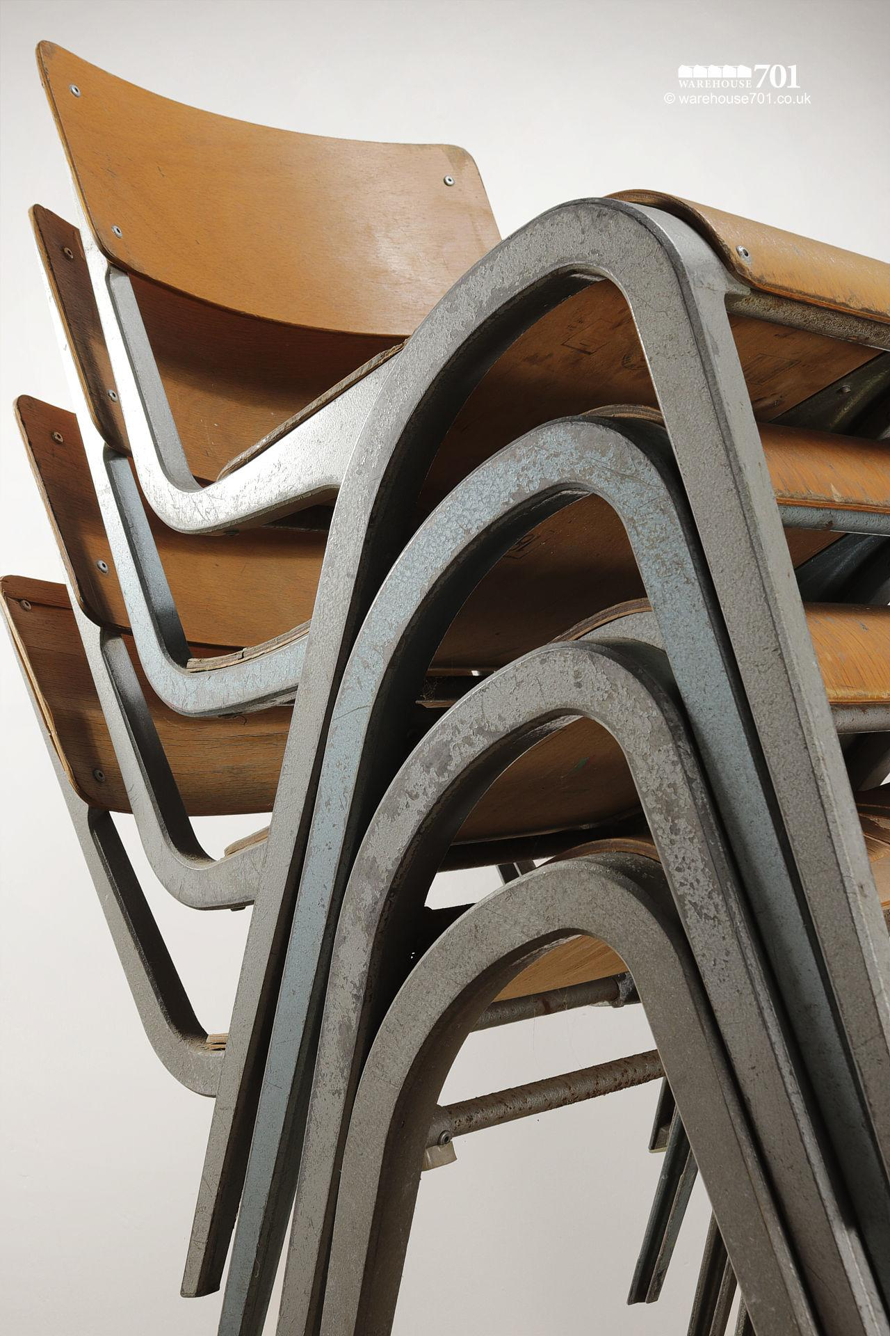 Vintage 1950s Esavian Alloy & Ply Stacking Chairs