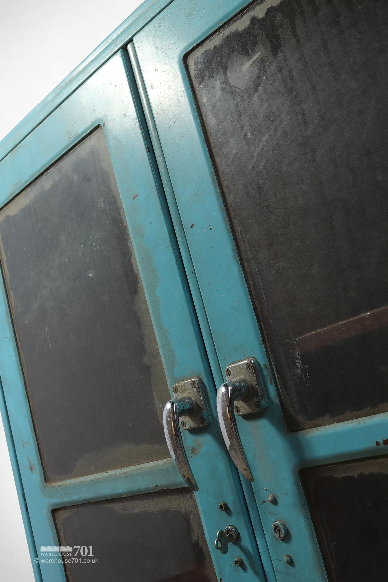 Salvaged Glazed Blue All-Metal Workshop Cabinet #3