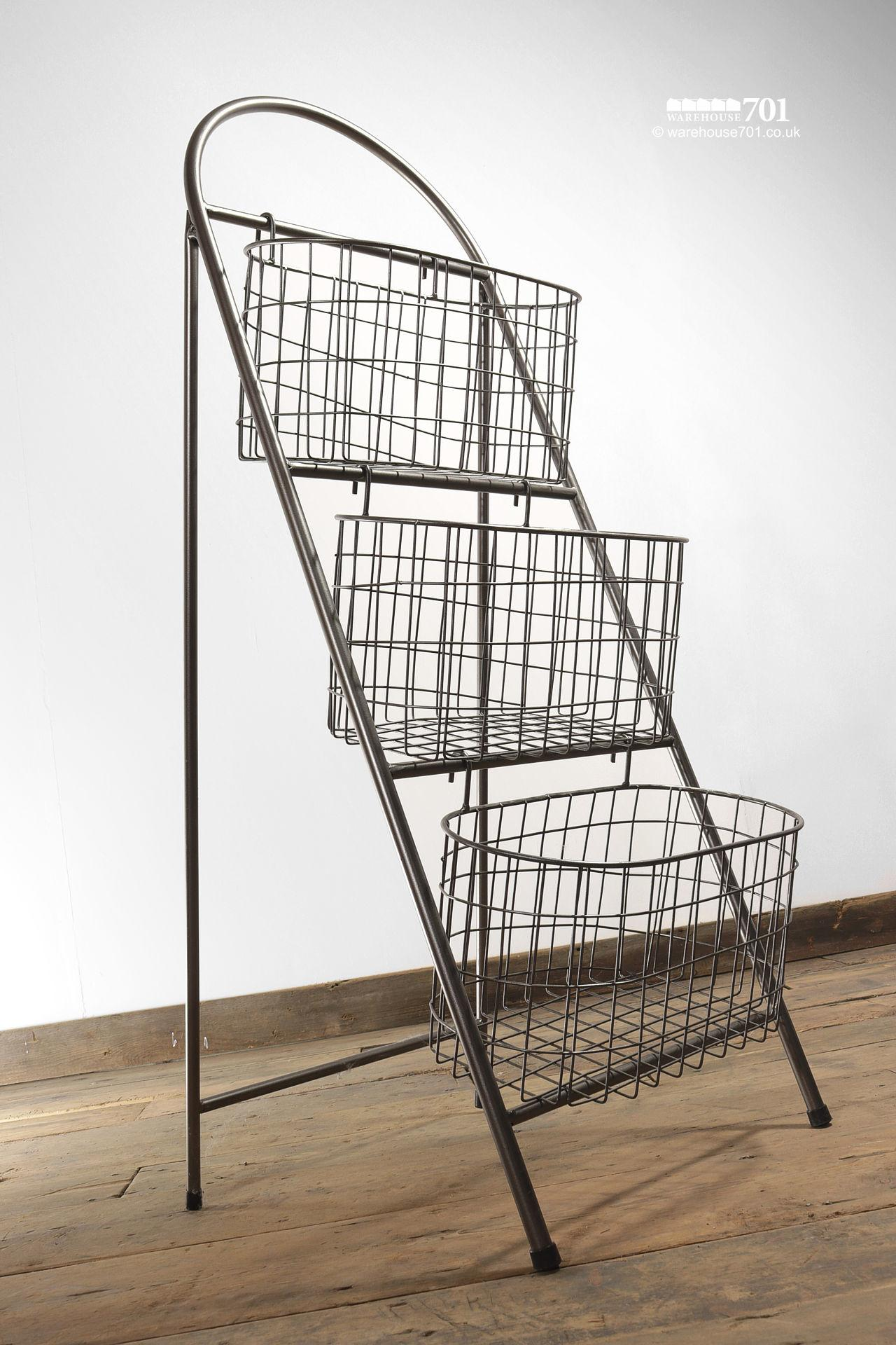 NEW Collapsible Wire Mesh Triple Basket Storage Rack or Stand #2