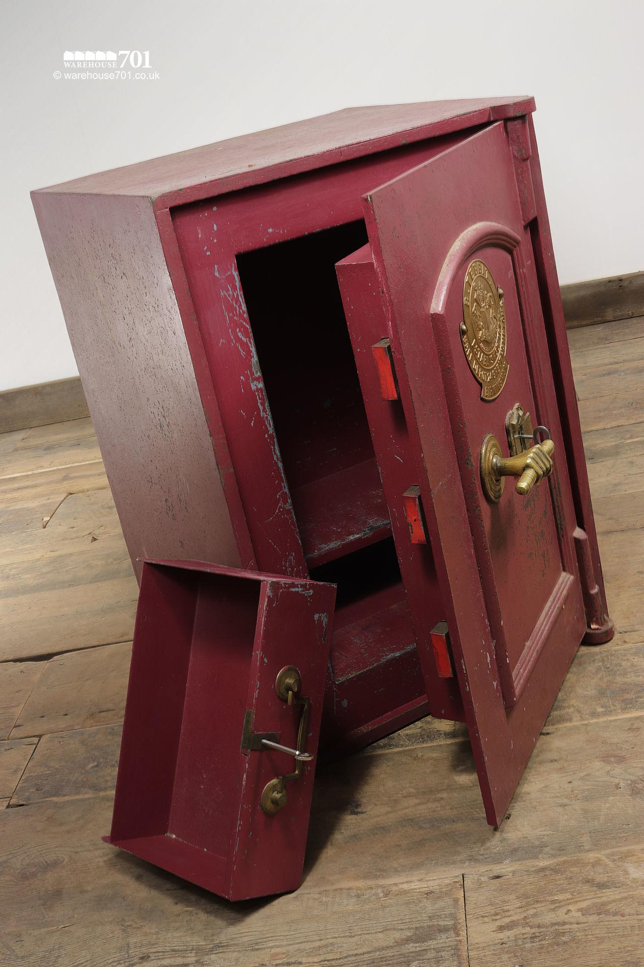 Salvaged Vintage Burgundy Red and Brass Safe by B.Tebbit of Birmingham #3