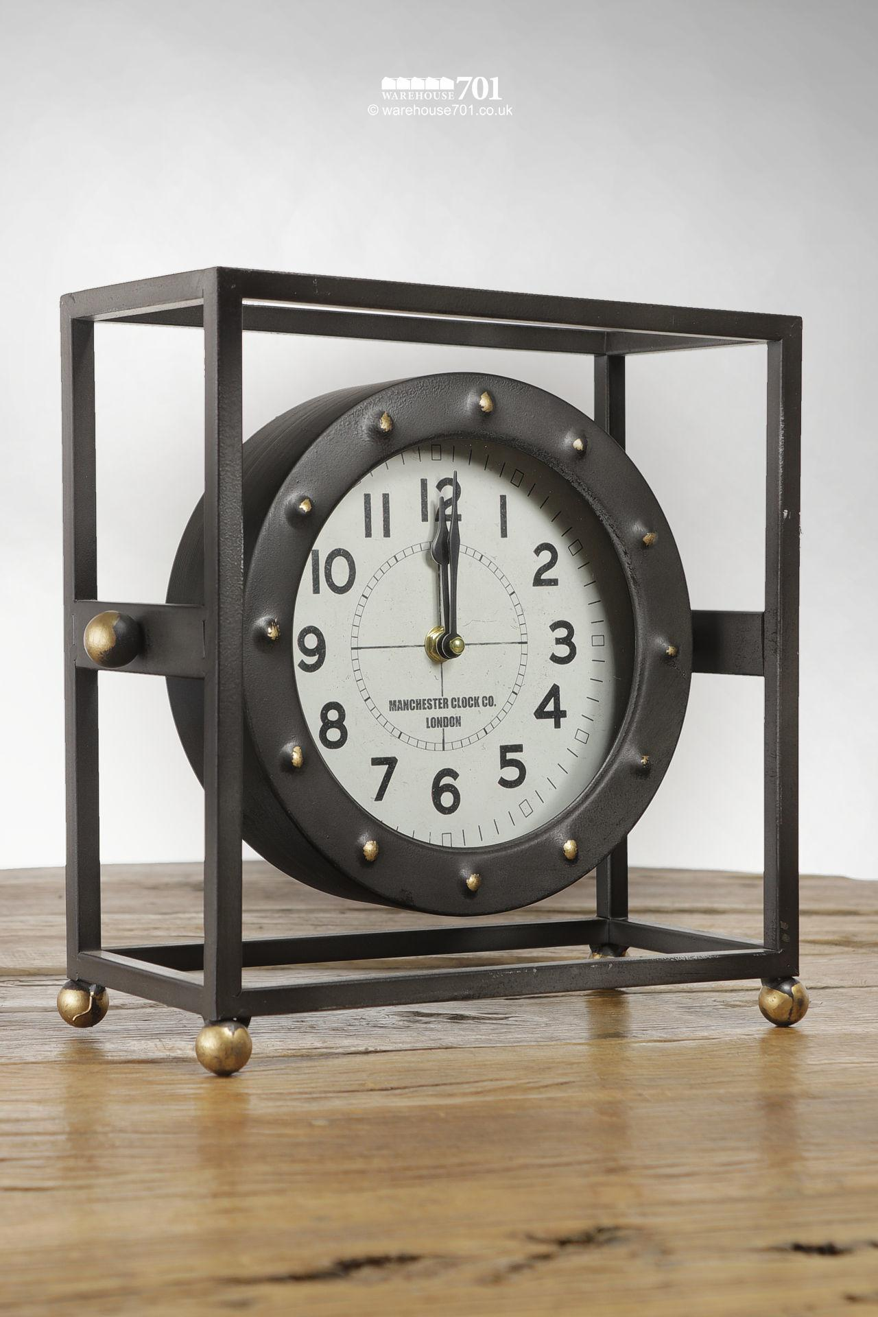 New Pivoting Framed or Cradled Industrial Style Freestanding Clock #3