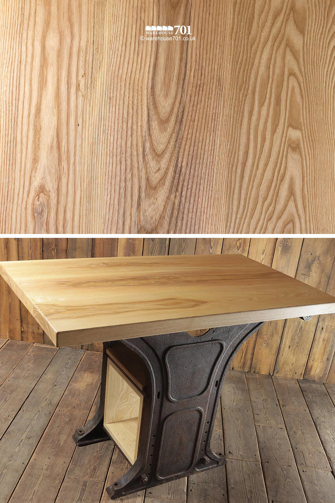 701 Original Industrial Base Highly Figured American Ash Table with Storage