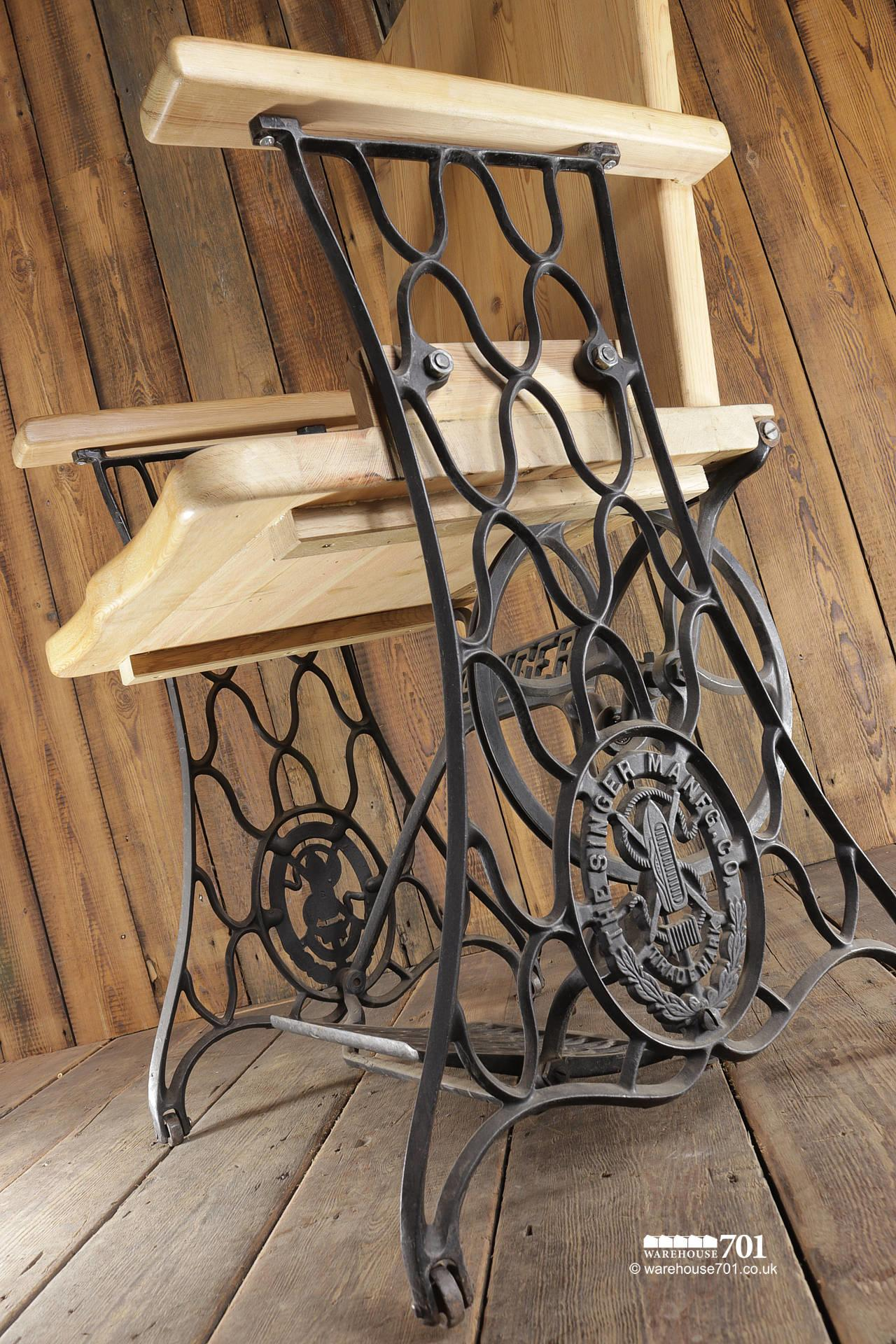 Handmade Chair with Authentic Singer Sewing Machine Treadle Frame #4