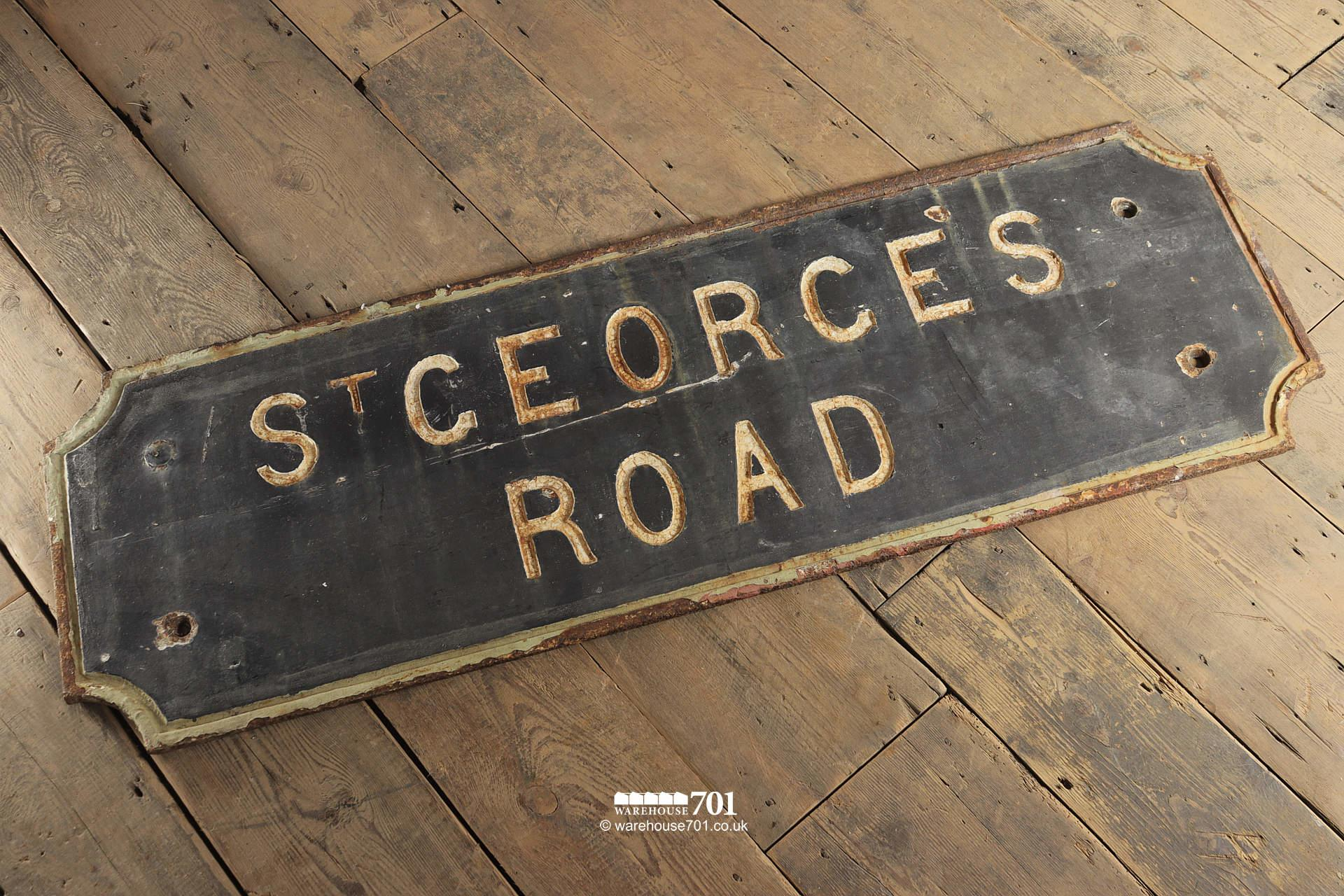 Lovely Old Cast Iron St Georges Road or Street Sign #2