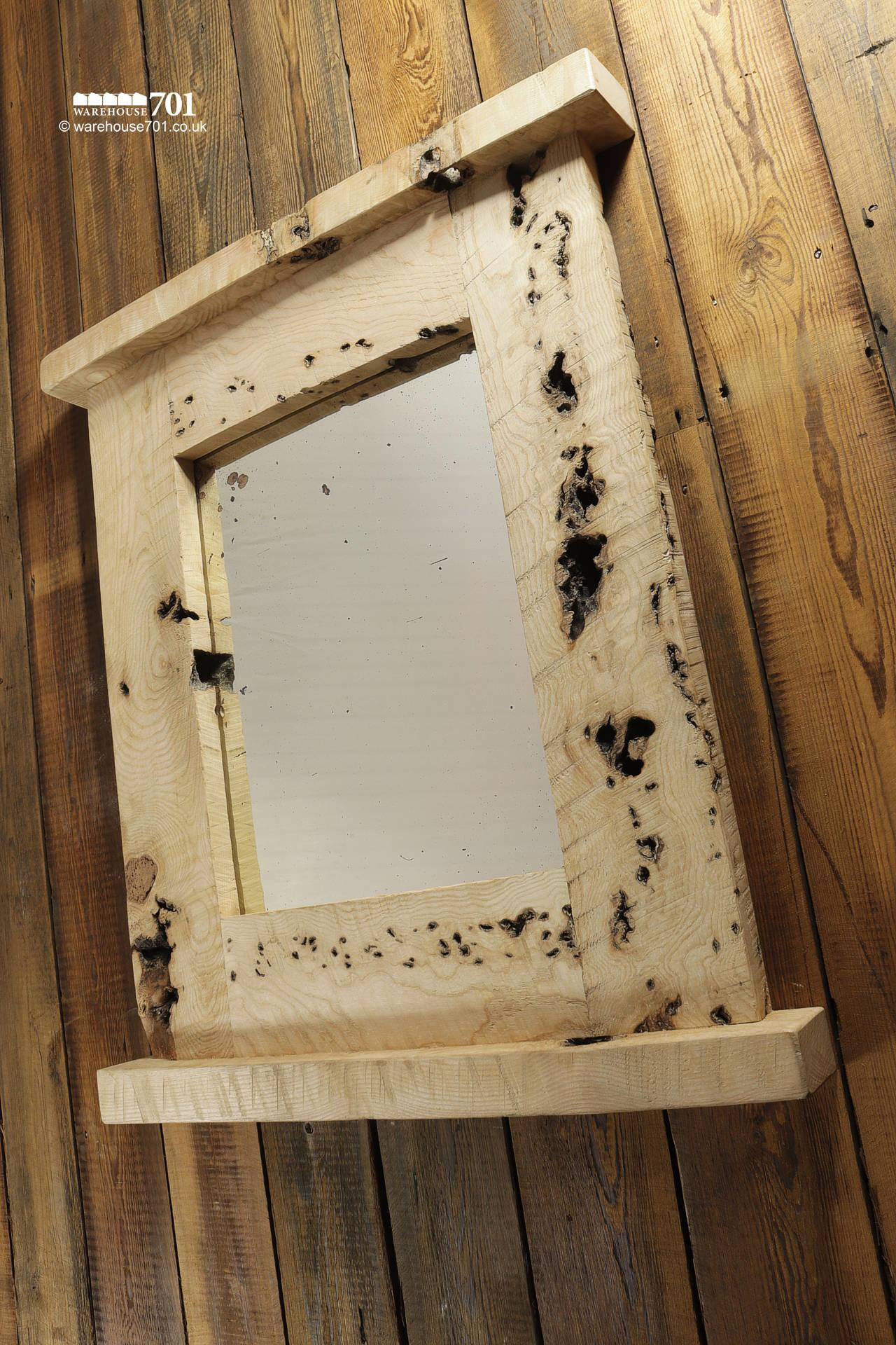 Beautiful NEW Handmade Large Burr Ash Wood Mirror with Integral Top Shelf