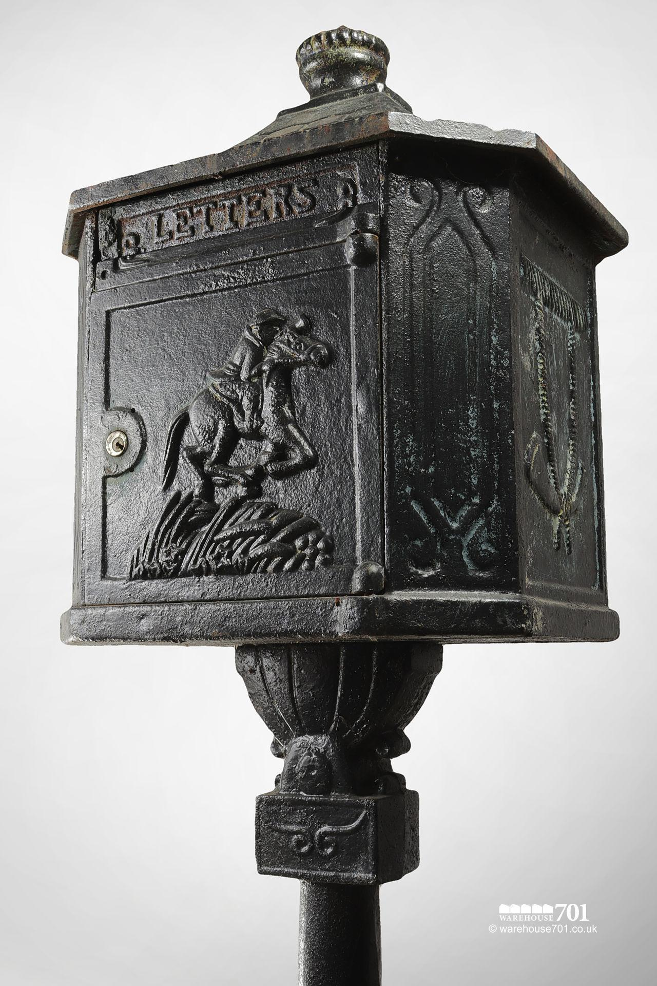 Salvaged Cast Iron Letterbox or Post Box on a Plinth