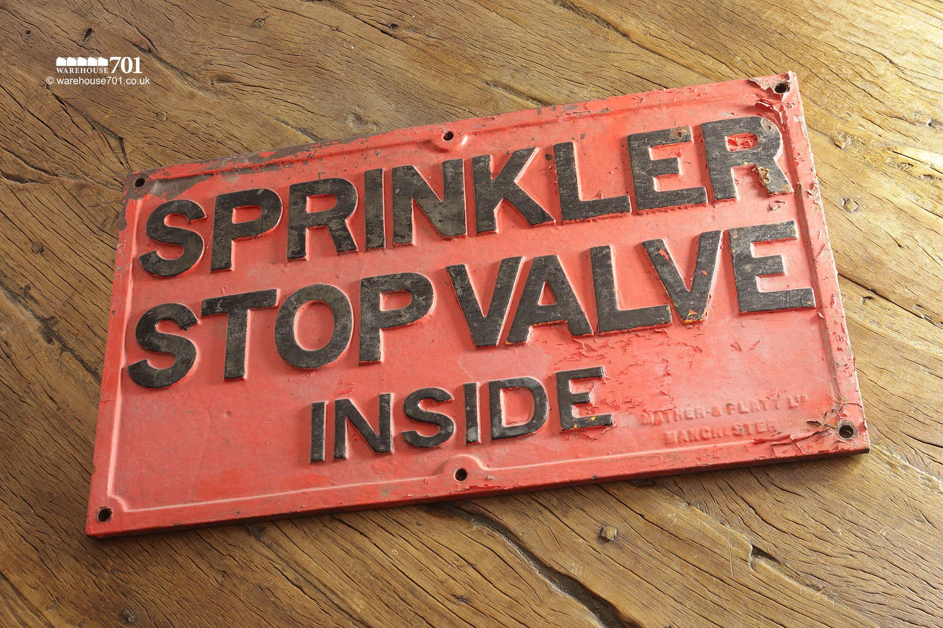 Reclaimed Red and Black Cast Iron Sprinkler Stop Valve Sign #2