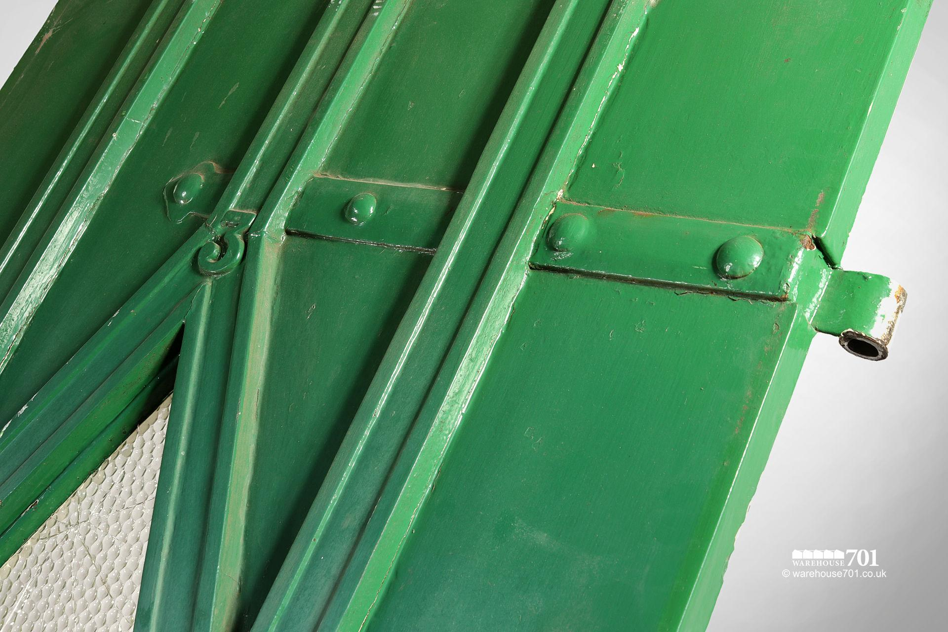 Old Green External Diamond Glazed Plank and Ledge Heavy Pine Door #3
