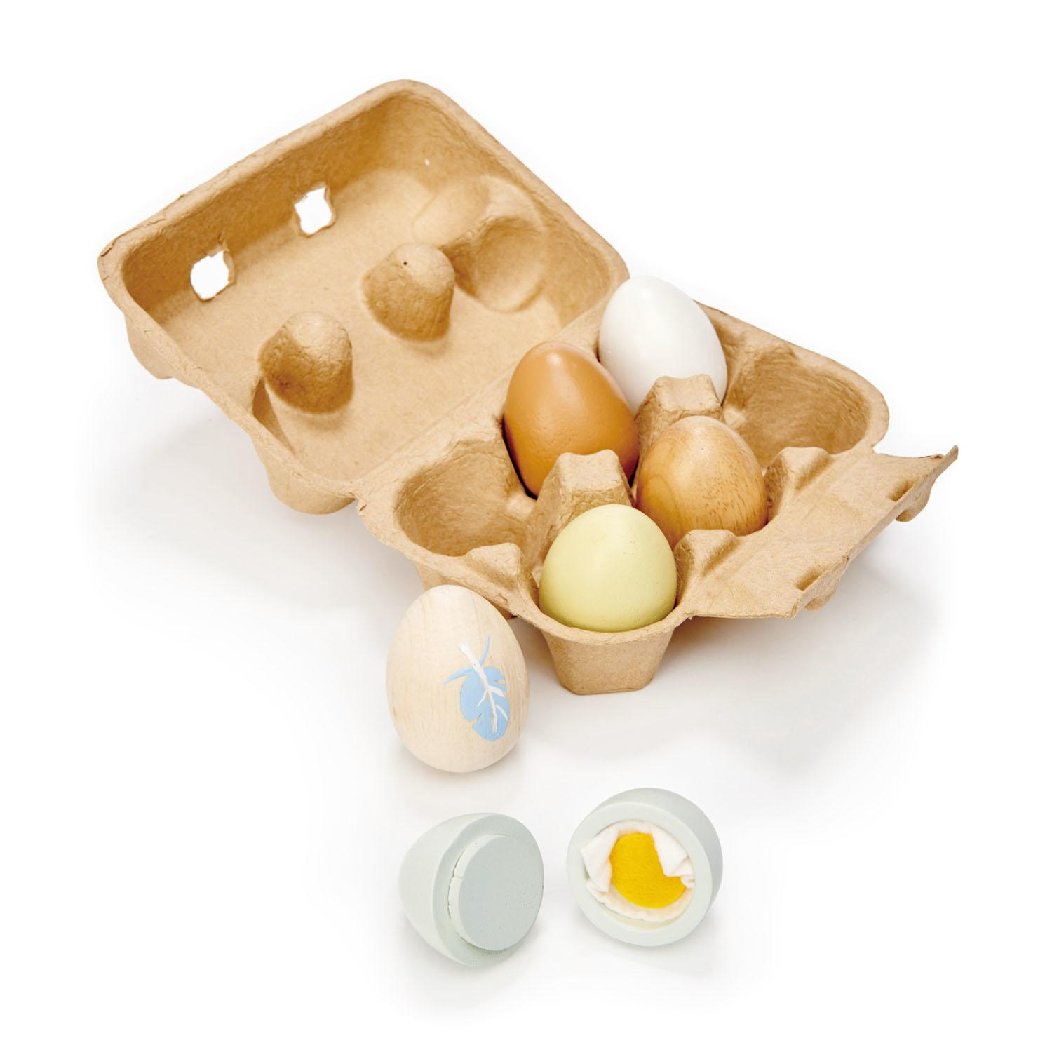 New Authentic Egg Box with 6 Assorted Wooden Play Eggs #2