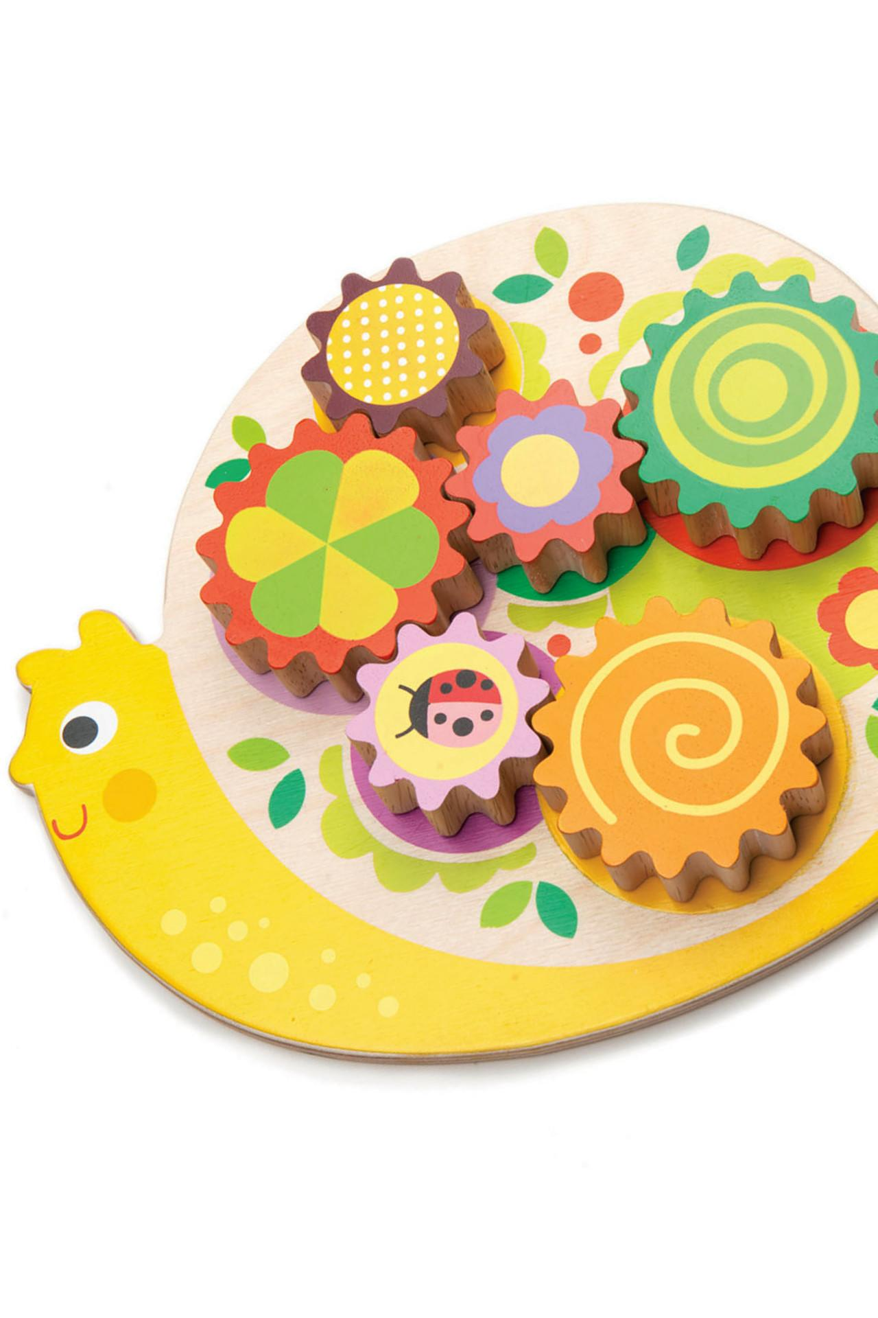 New Wooden Snail with 6 Placeable Colourful Cogs that Turn #2