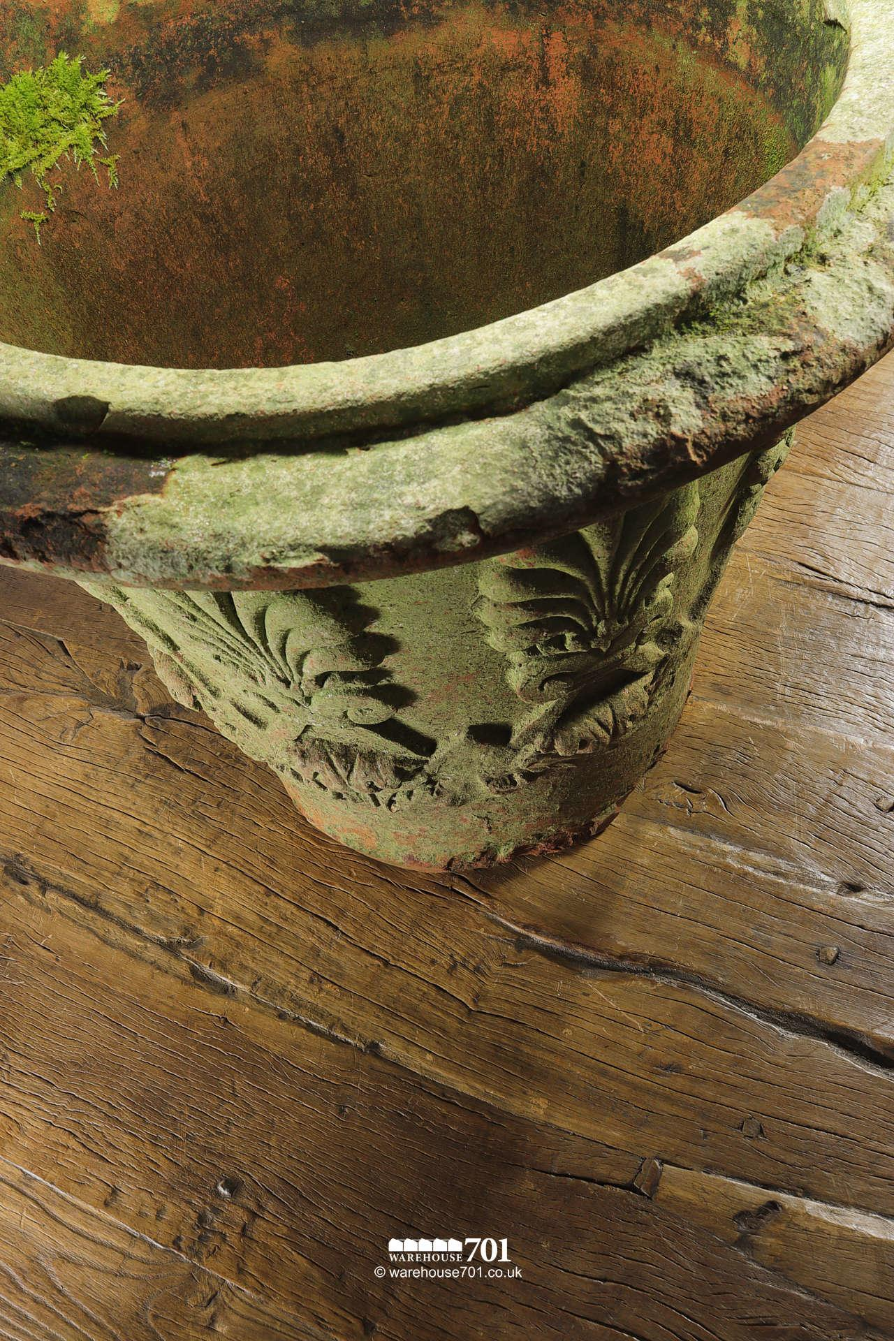 Old and Rare Large Terracotta or Clay Fern Pattern Planter or Pot #3