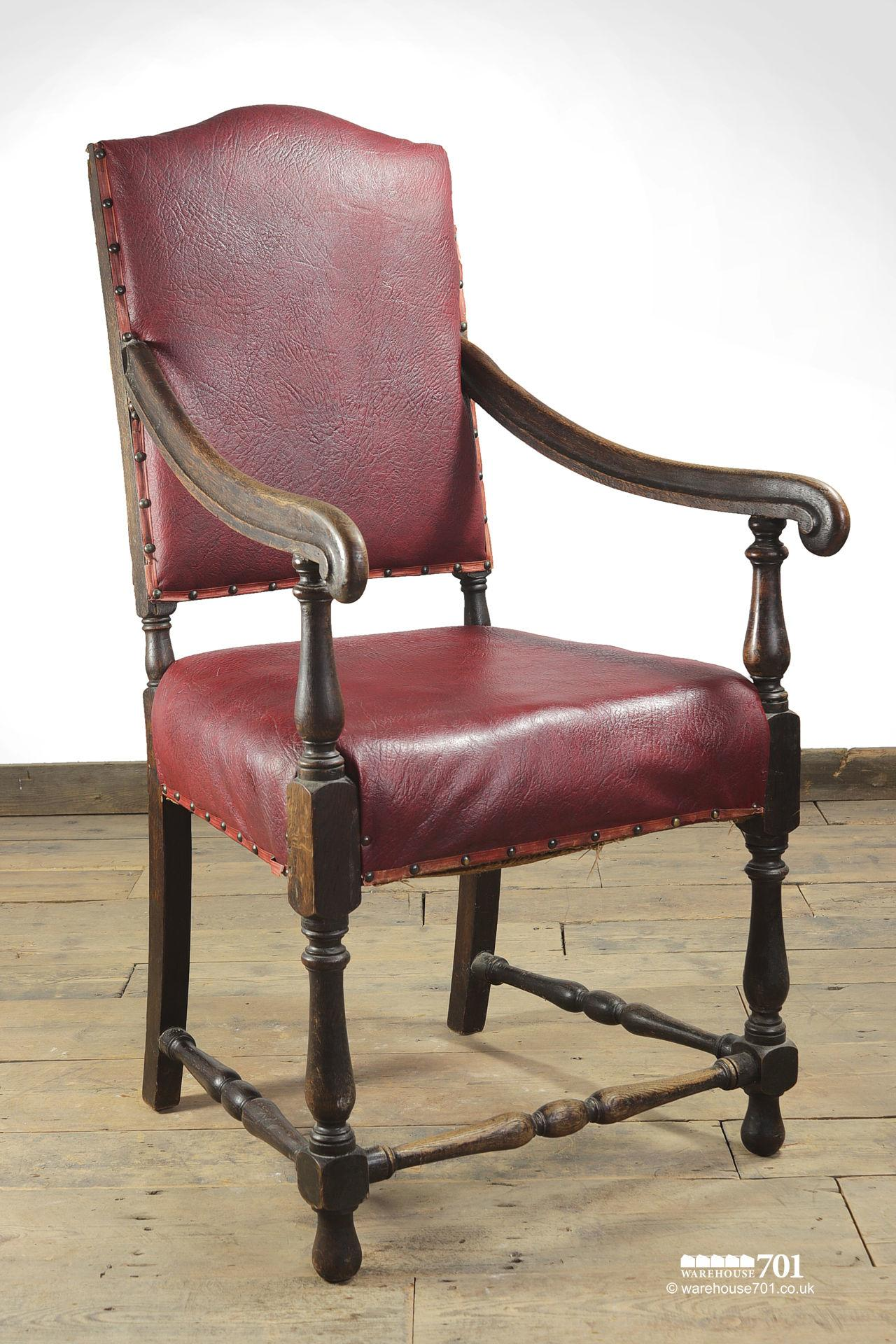 Grand Old Red leather and Oak Hallway or Armchair