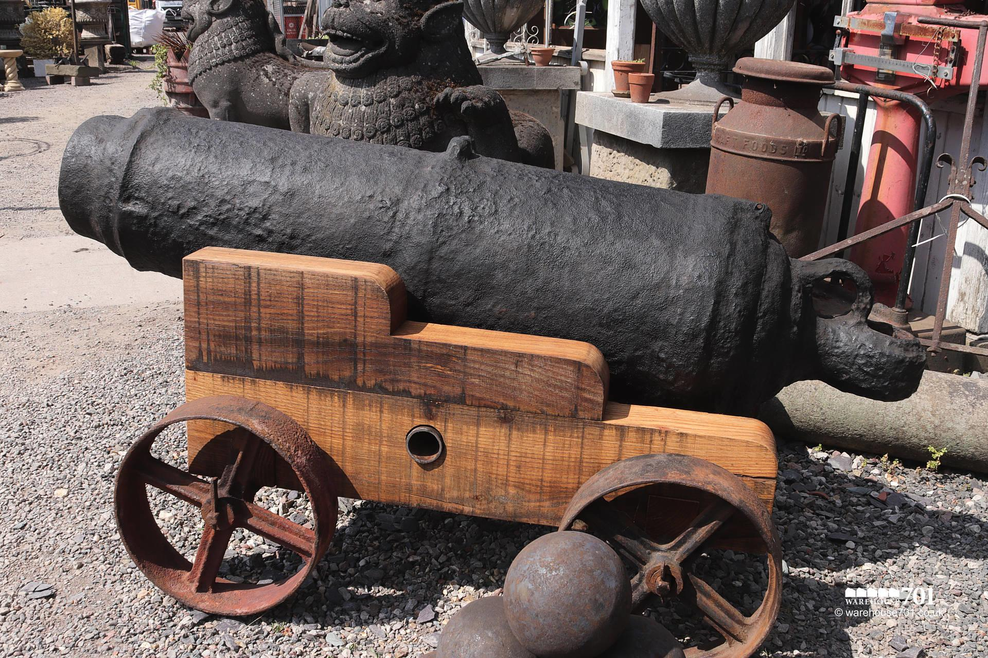 Fabulous Large Ocean-Salvaged Maritime 69lb Carronade Cannon on Carriage #5